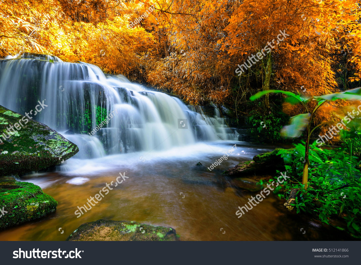 Amazing Waterfall Colorful Autumn Forest Stock Photo ... - photo#9