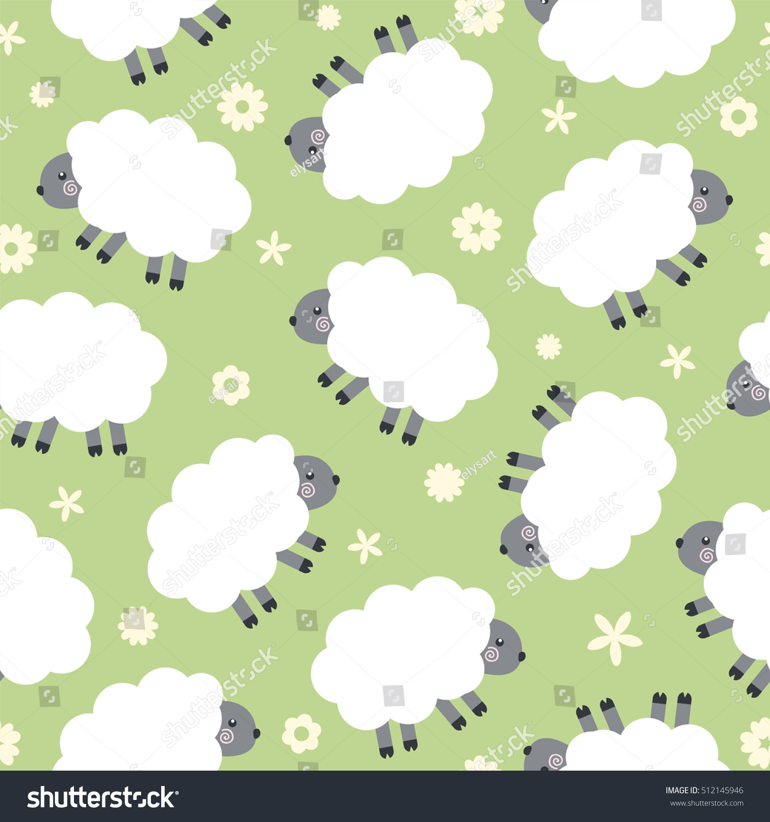 Wallpaper With Cute Sheep Seamless Vector Pattern
