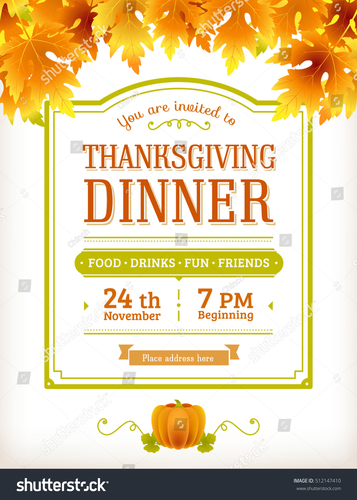 Invitation Thanksgiving Dinner Party Vector Template Stock Vector ...