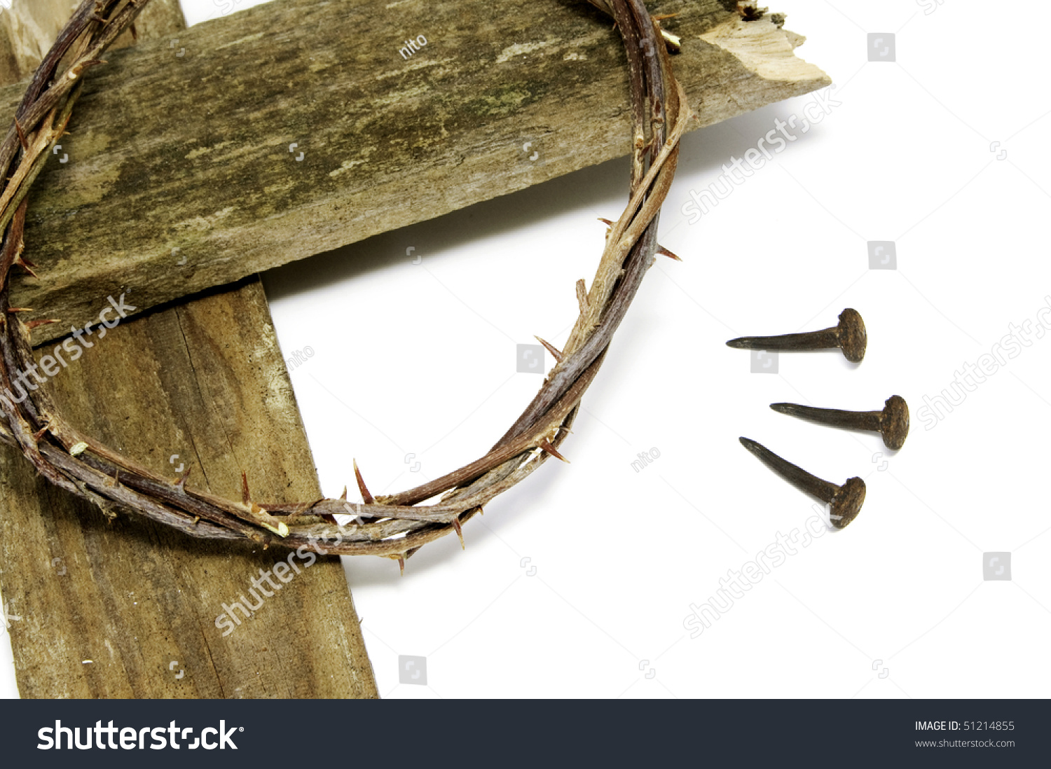 The Crown Of Thorns Cross And Three Nails Jesus Christ