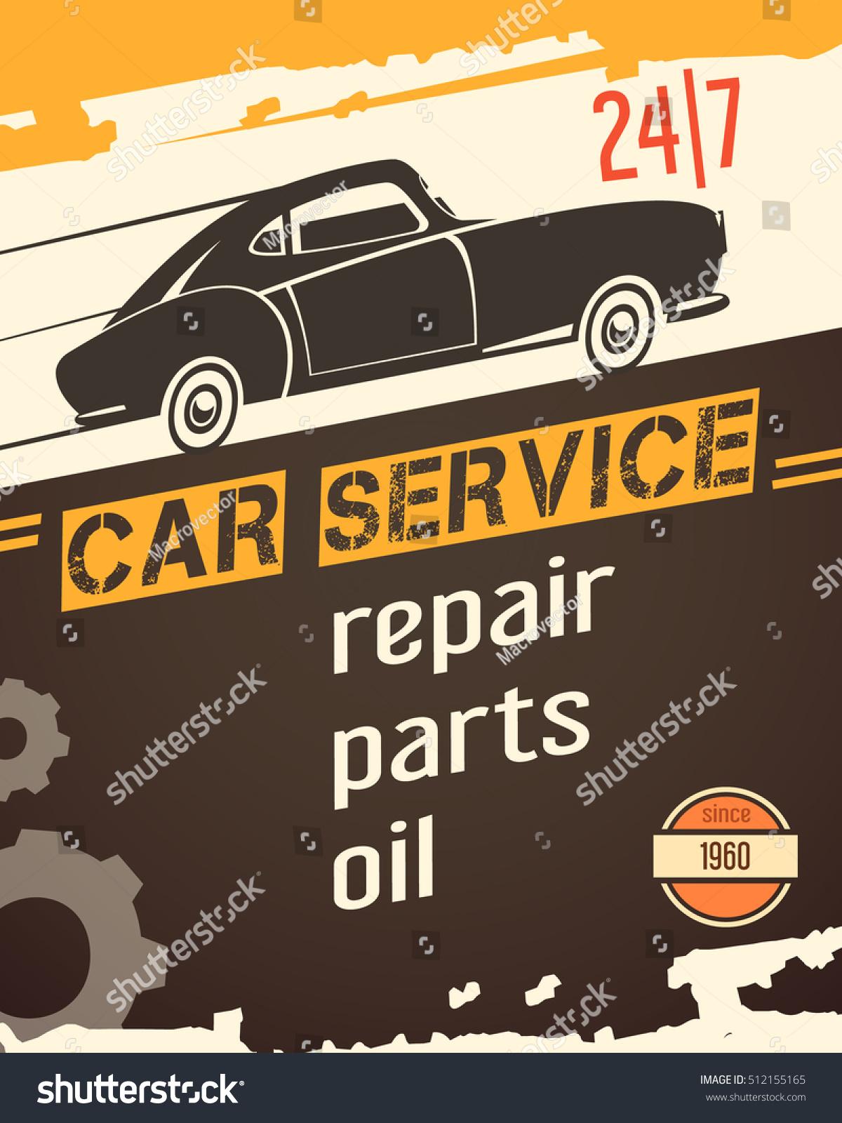 Original Vintage Auto Service Garage Poster Stock Vector 512155165 ...