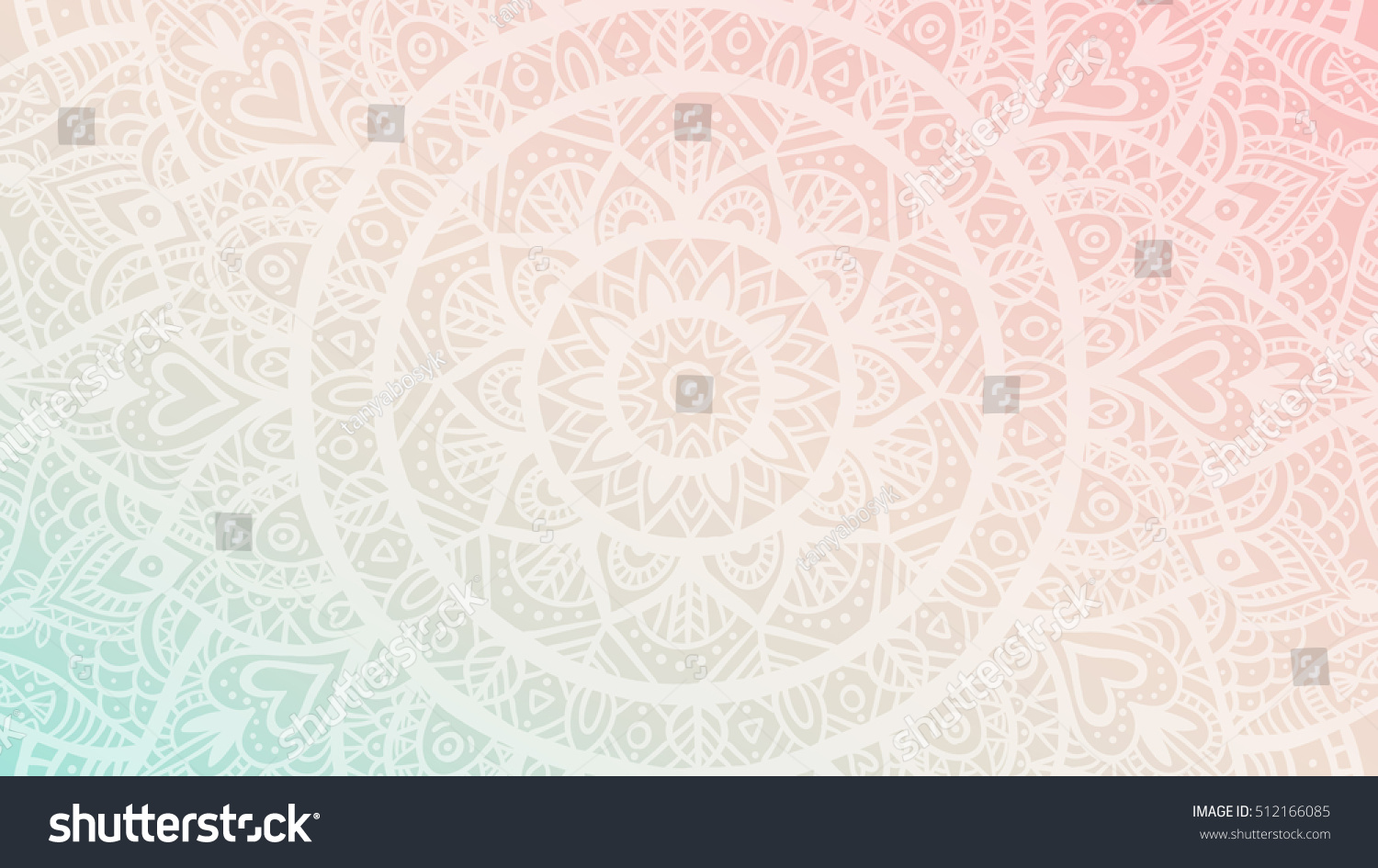 Dreamy Gradient Wallpaper With Mandala Pattern Vector Background For Yoga Meditation Poster