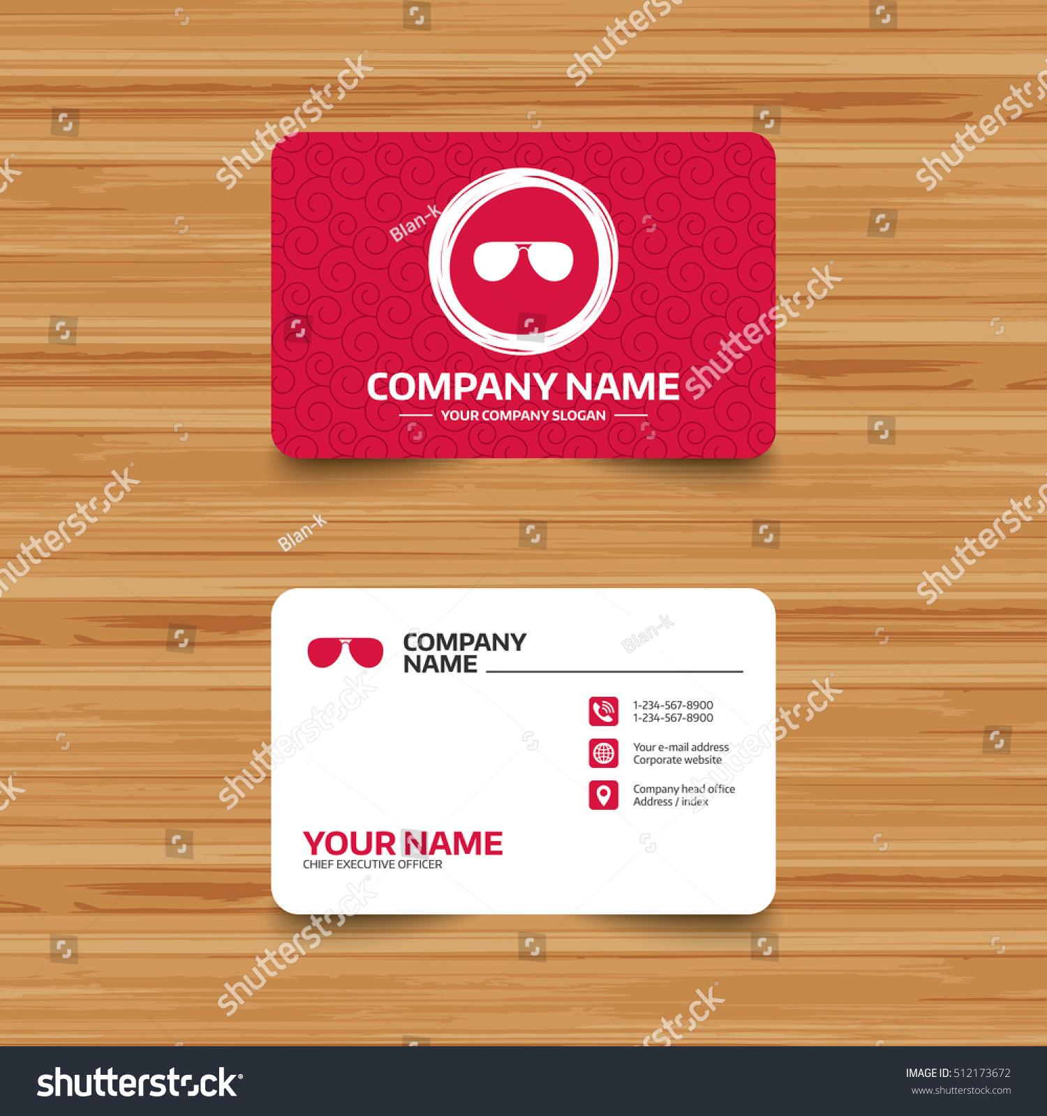 Business Card Template Texture Aviator Sunglasses Stock Vector