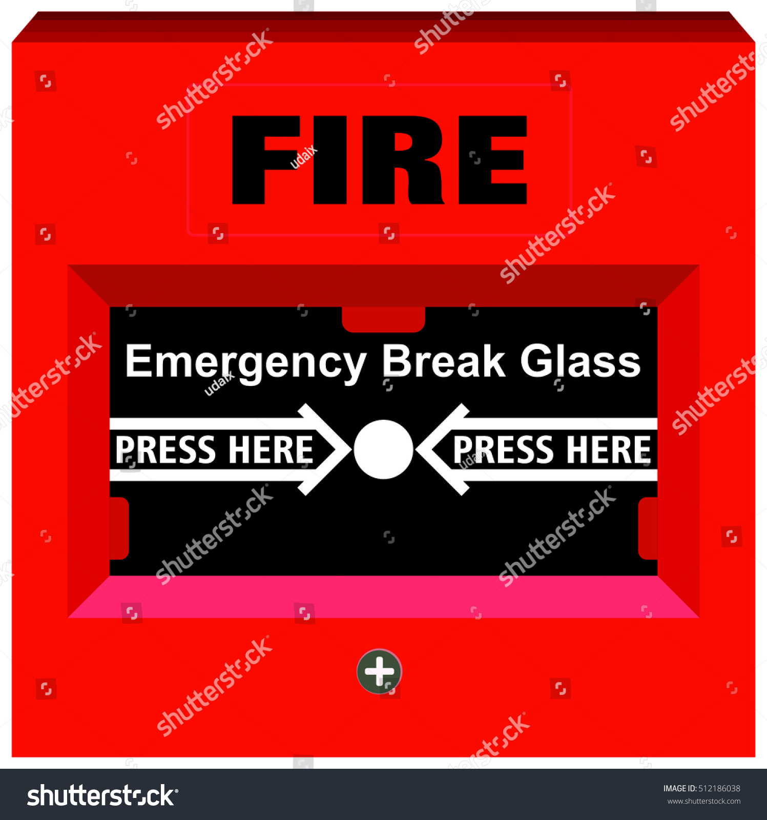 Fire Alarm Emergency Break Glass Press Stock Illustration 512186038