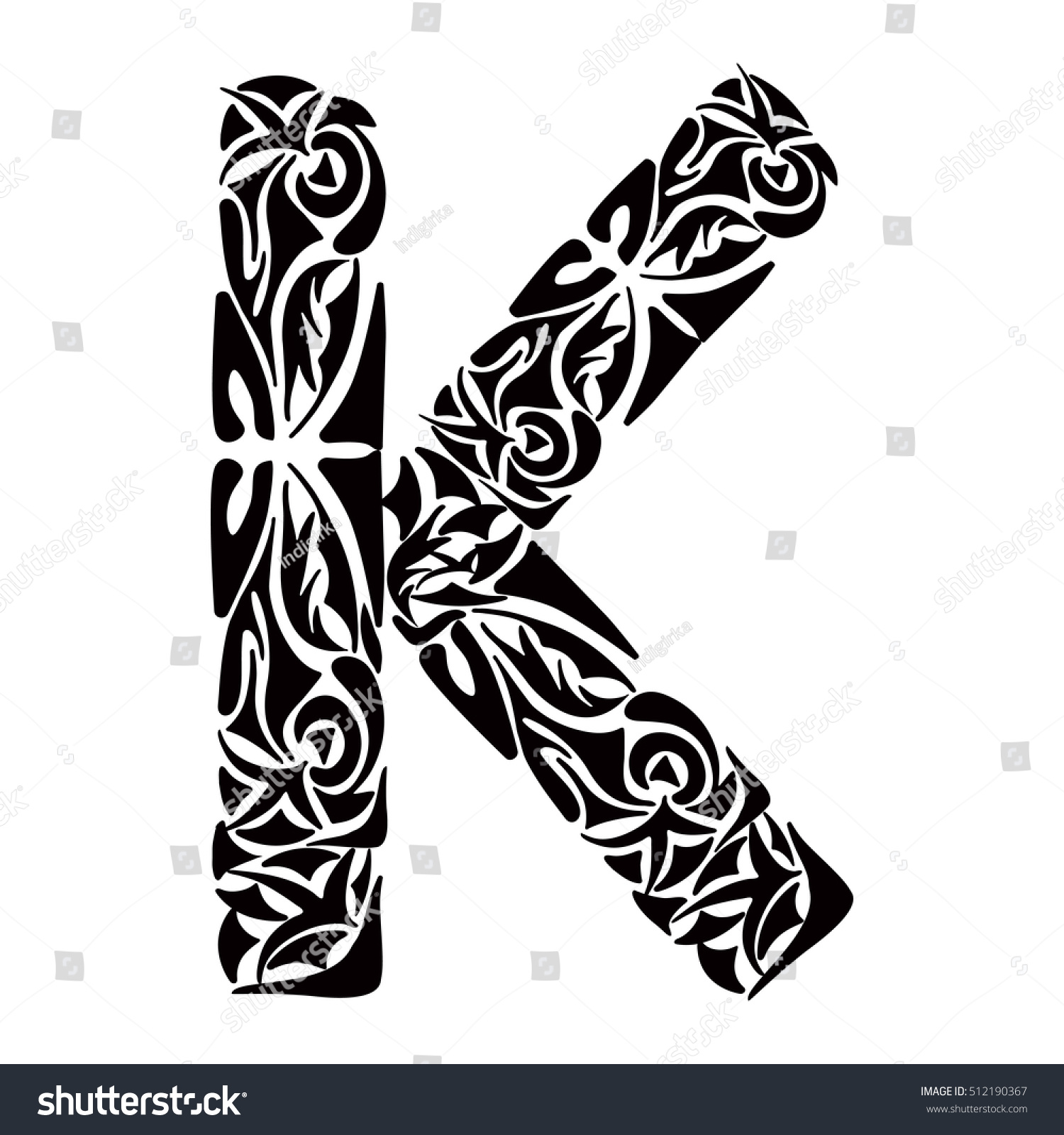 polynesian tattoo initials tribal capital letter stock vector 512190367 shutterstock. Black Bedroom Furniture Sets. Home Design Ideas