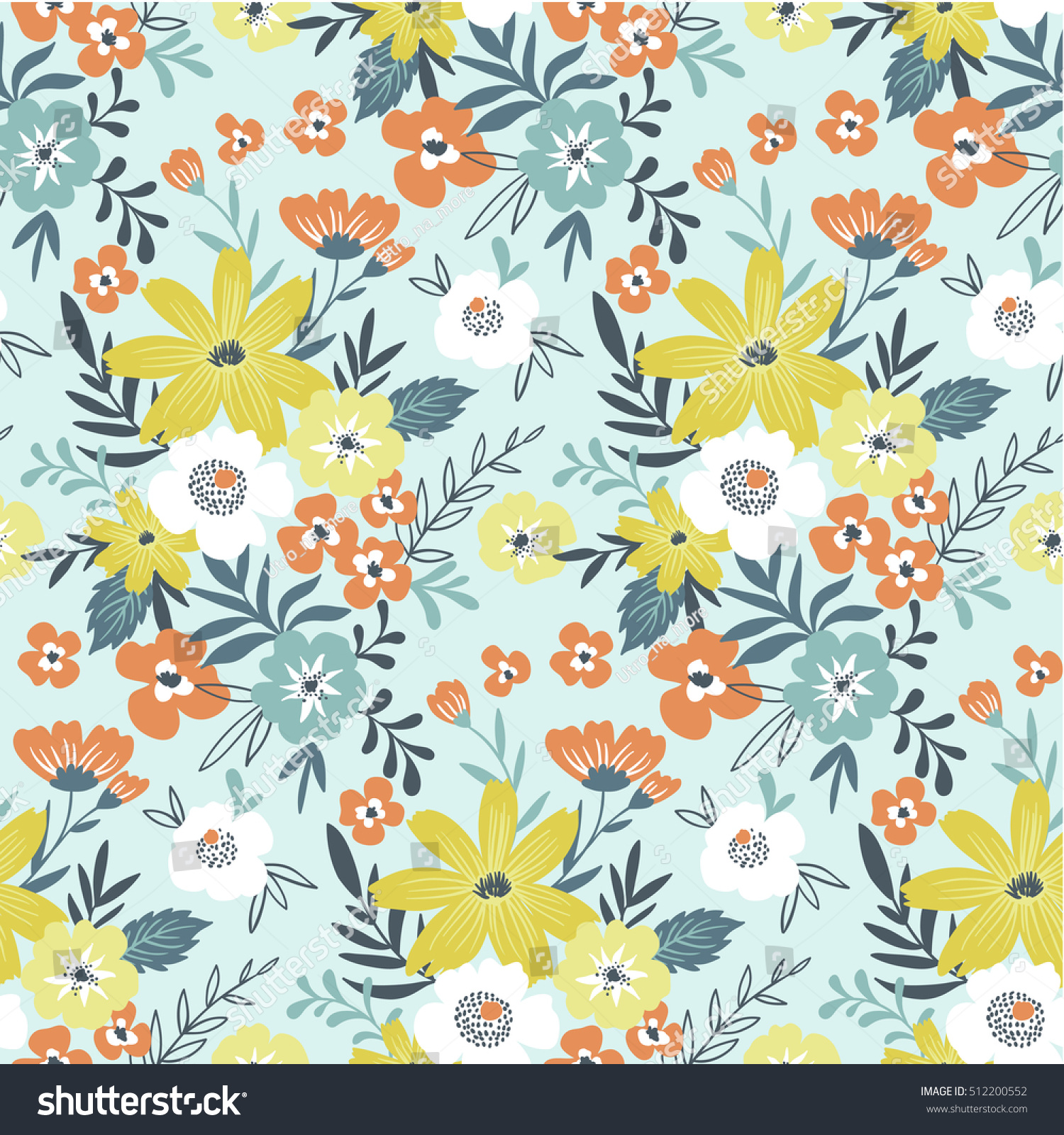2015 Ditsy Floral Design: Trendy Seamless Floral Ditsy Pattern Fabric Stock Vector