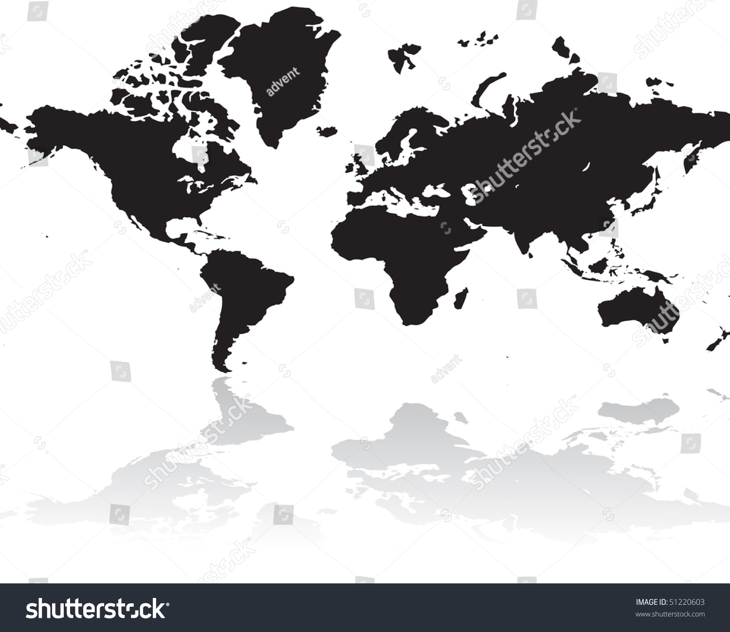 World Map Silhouette Isolated On White Stock Vector (Royalty Free ...