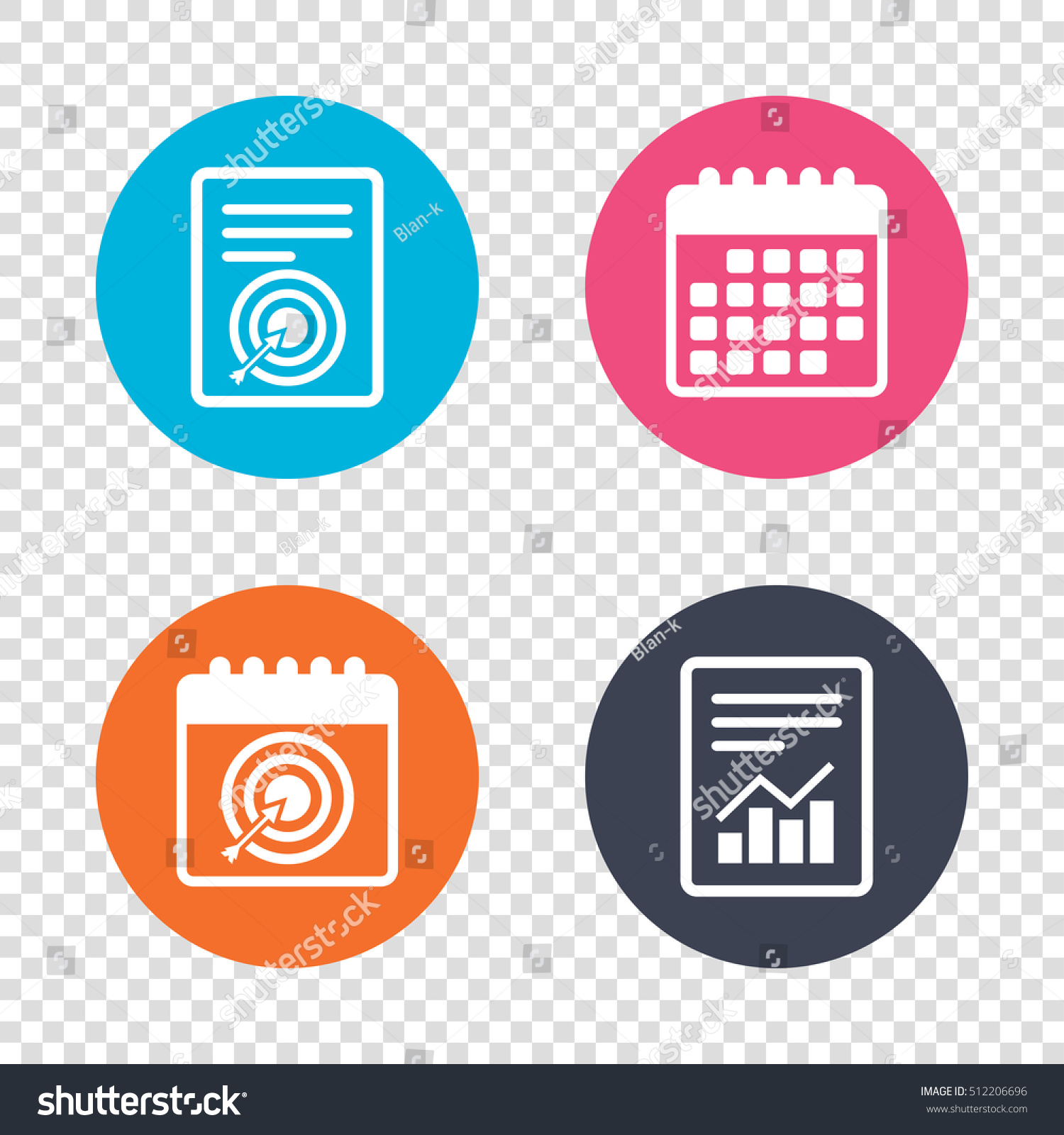 Report Document Calendar Icons Target Aim Sign Icon Darts Board With Arrow Symbol