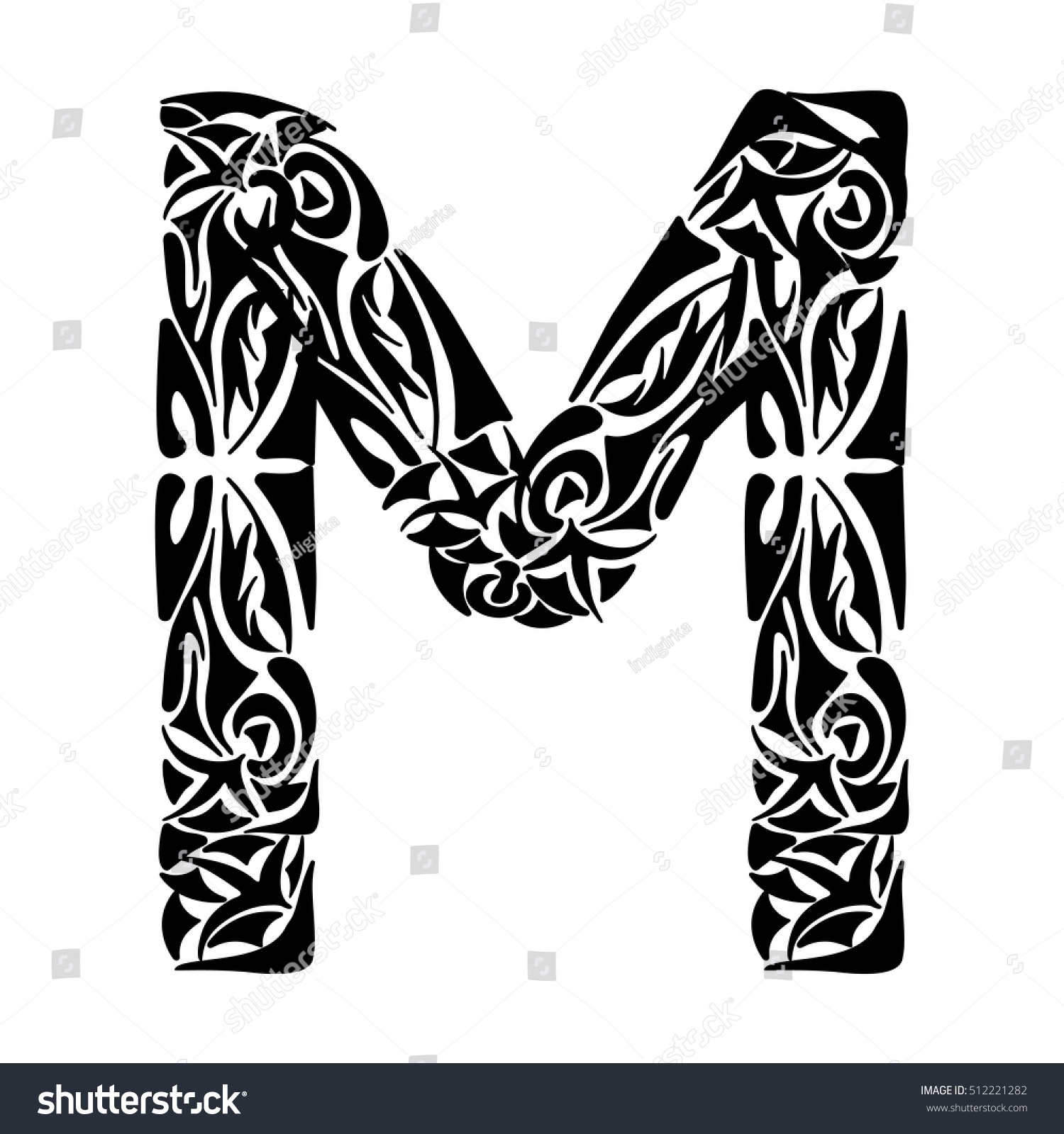Royalty free polynesian tattoo initials tribal 512221282 stock polynesian tattoo initials tribal capital letter m vector illustration for coloring page tattoos altavistaventures Gallery