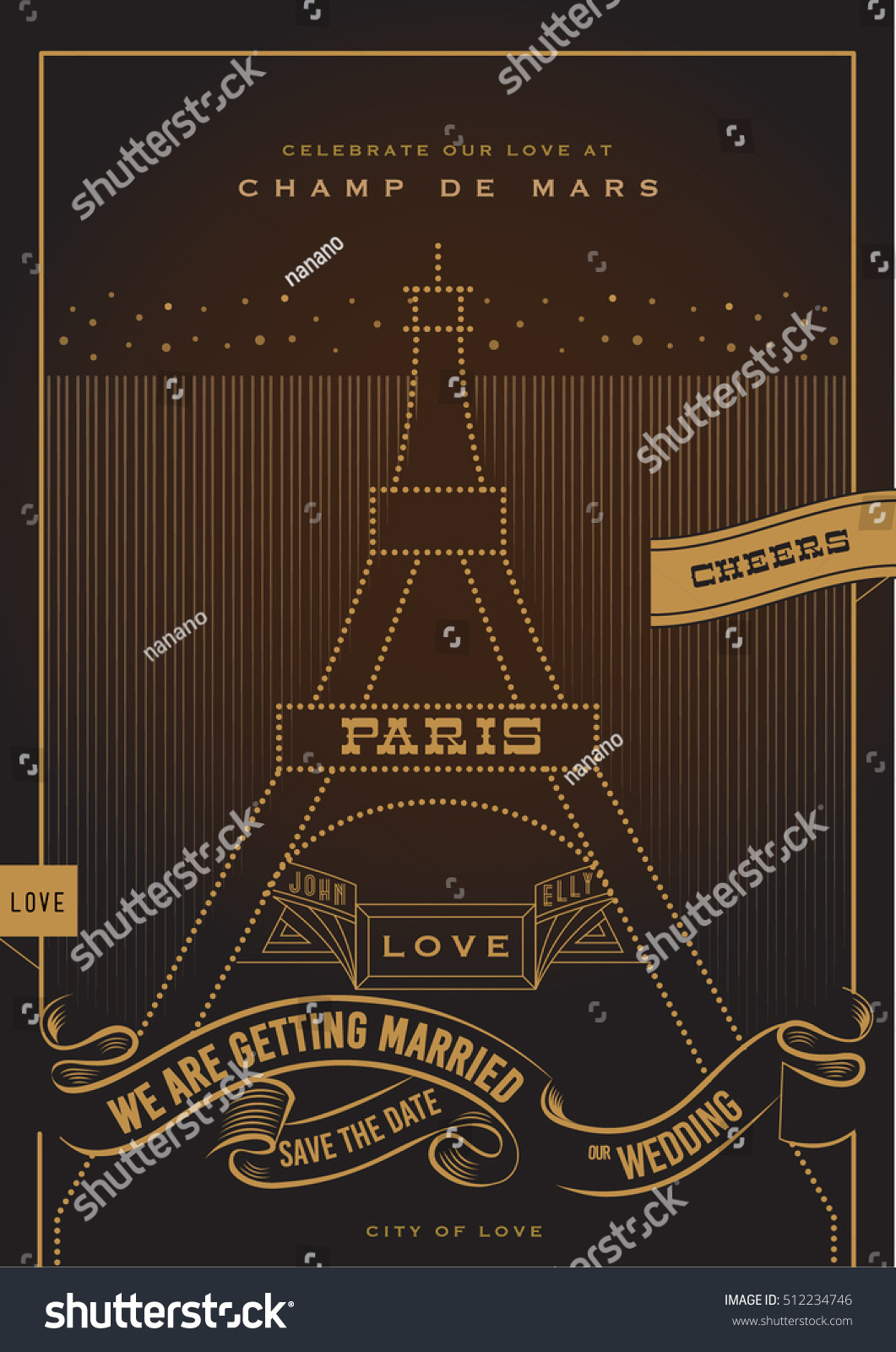 City love wedding invitation valentines day stock vector 512234746 city of love wedding invitation valentines day proposal card art deco stopboris Image collections