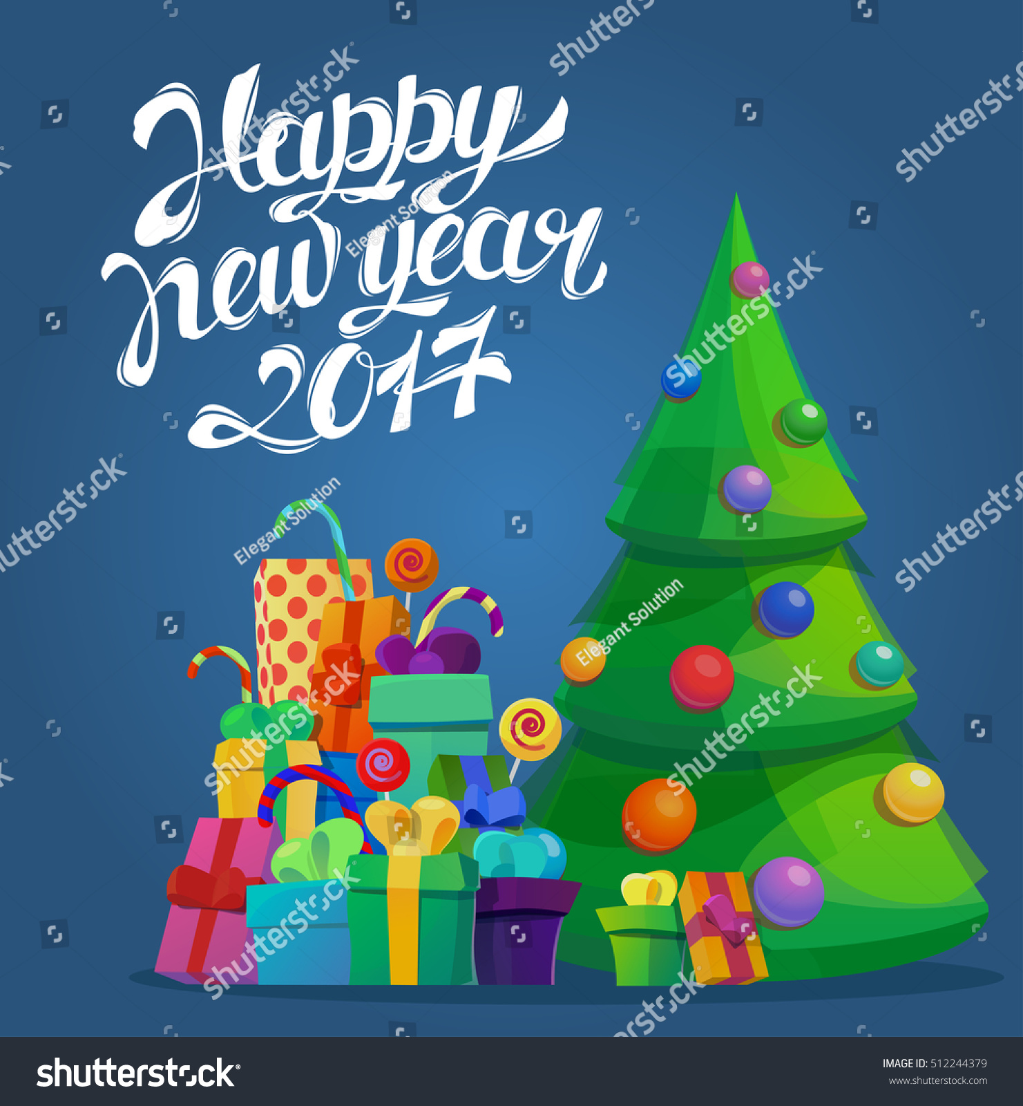 Fir tree new 2017 year merry stock vector royalty free 512244379 fir tree for new 2017 year and merry christmas greeting card template with gift or m4hsunfo