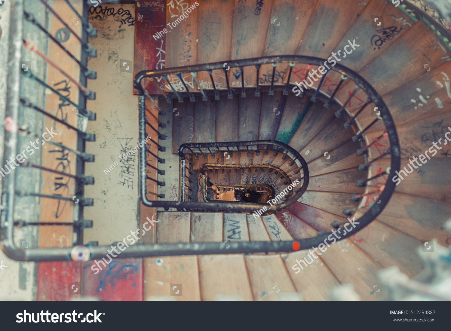 Vintage Spiral Staircase. Retro Vintage Aged Staircase. Top View Of The  Rounded Stairs In
