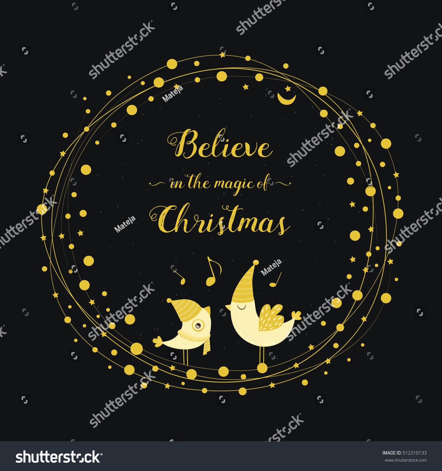Christmas Greeting Card Gold Singing Birds Stock Vector Royalty