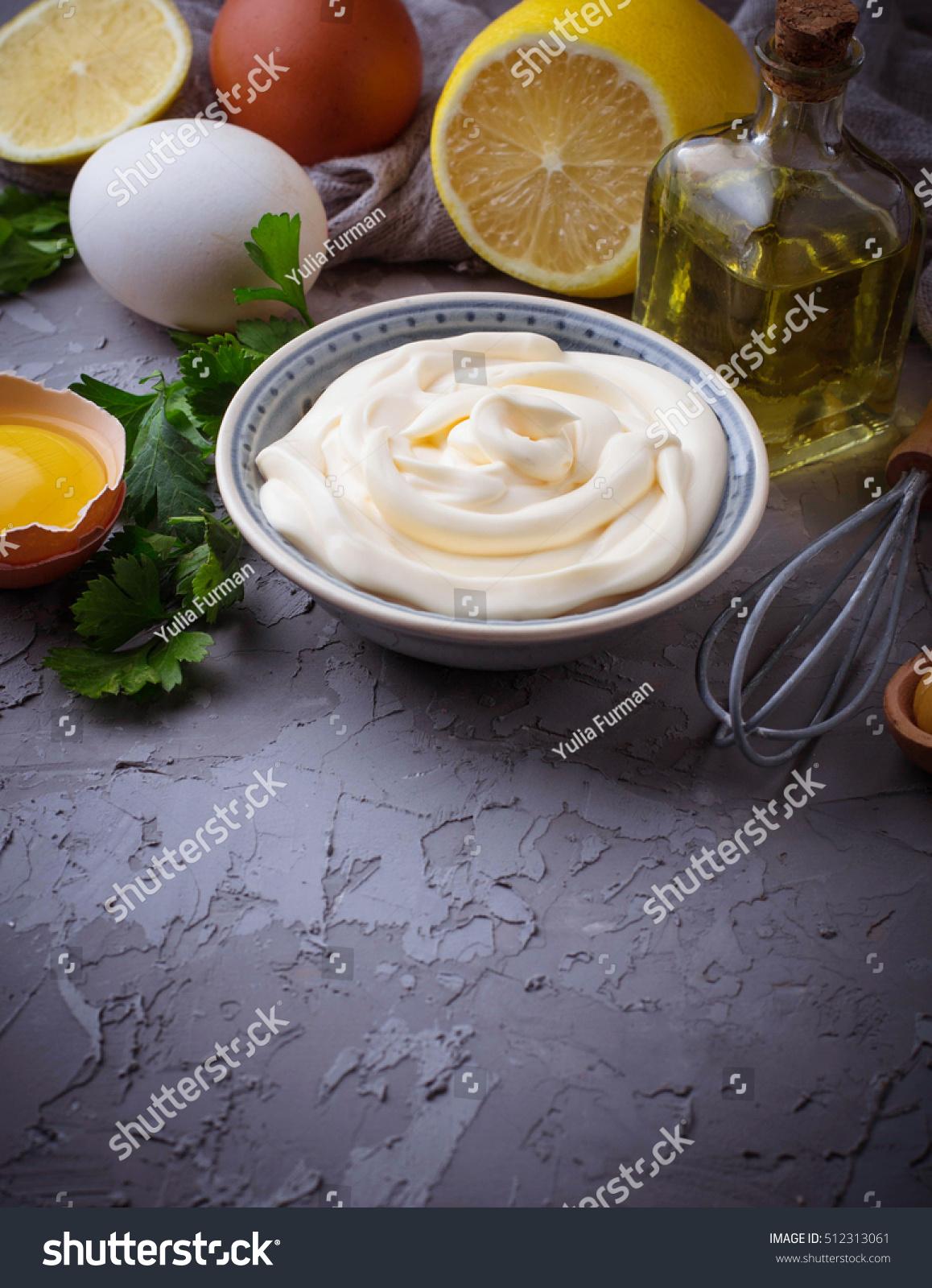 Homemade Mayonnaise Sauce Olive Oil Eggs Stock Photo ...