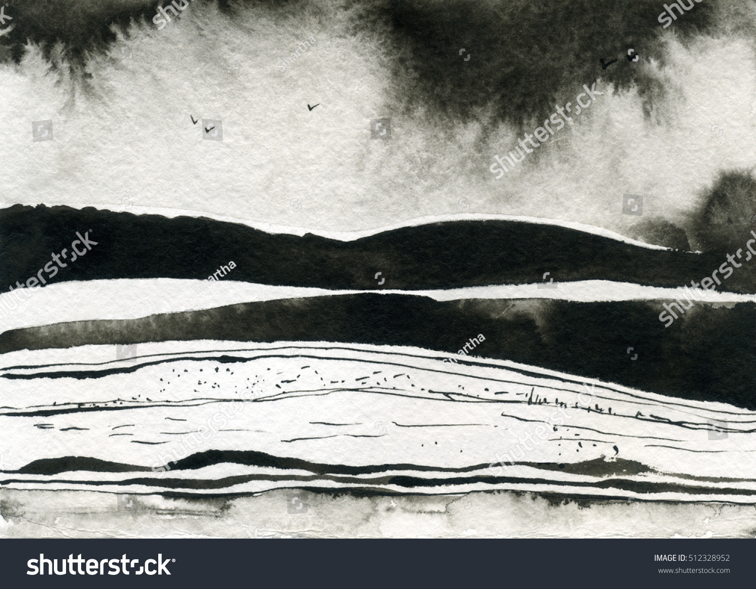 ink hand drawn illustration with abstract landscape black and white ink winter landscape with river