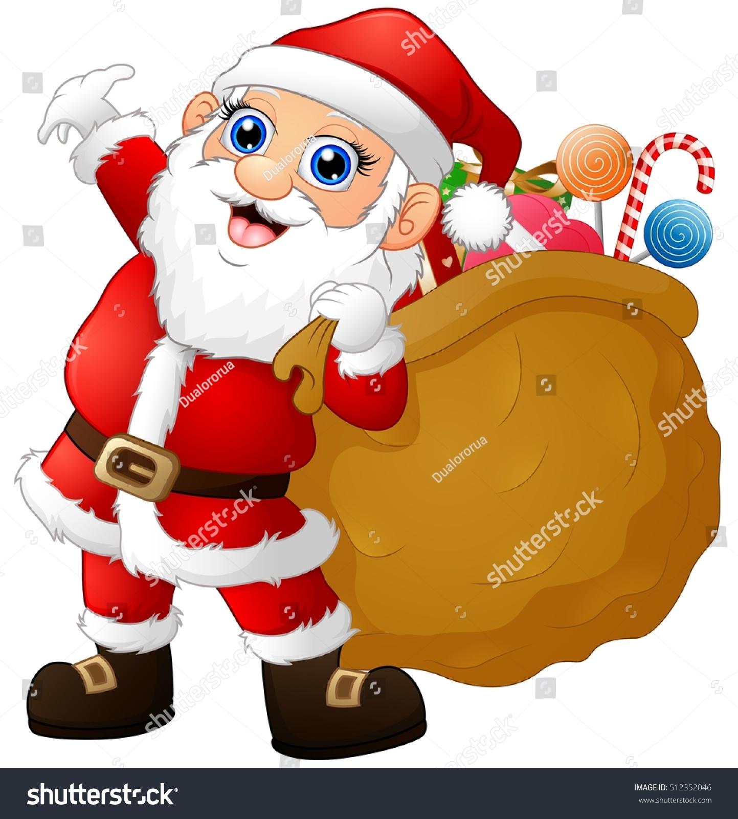Santa claus carrying sack full gifts stock illustration