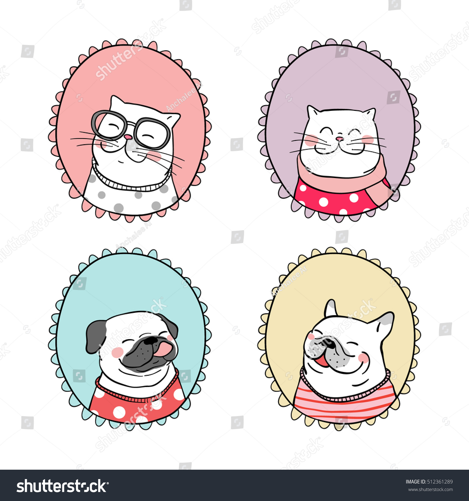 Cute portrait vector illustration of pug dog cat in sweet frame and beauty scarf sweater doodle style