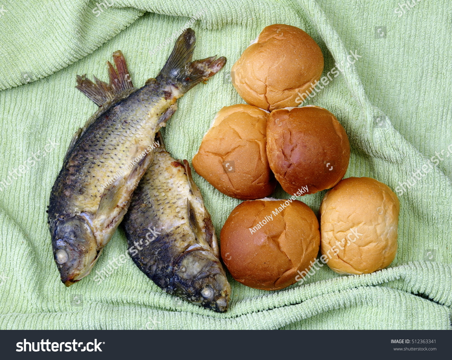 Five loaves two fishes stock photo 512363341 shutterstock for Loaves and fish