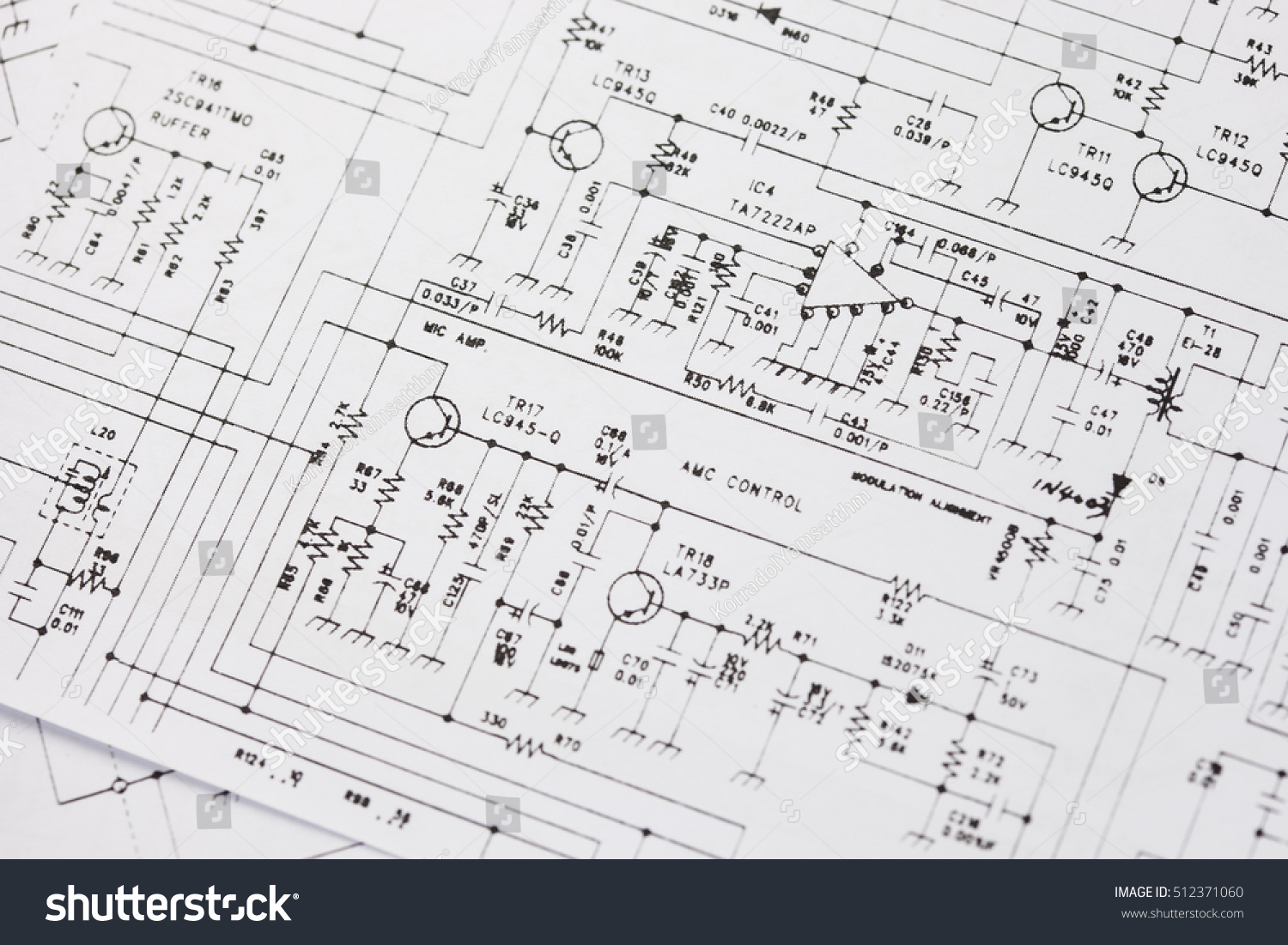 Electronics Engineering Drawing Circuit Schematic Stock Photo ...