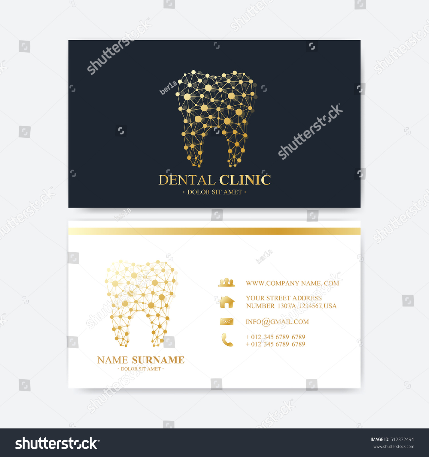 premium business card print template visiting stock vector