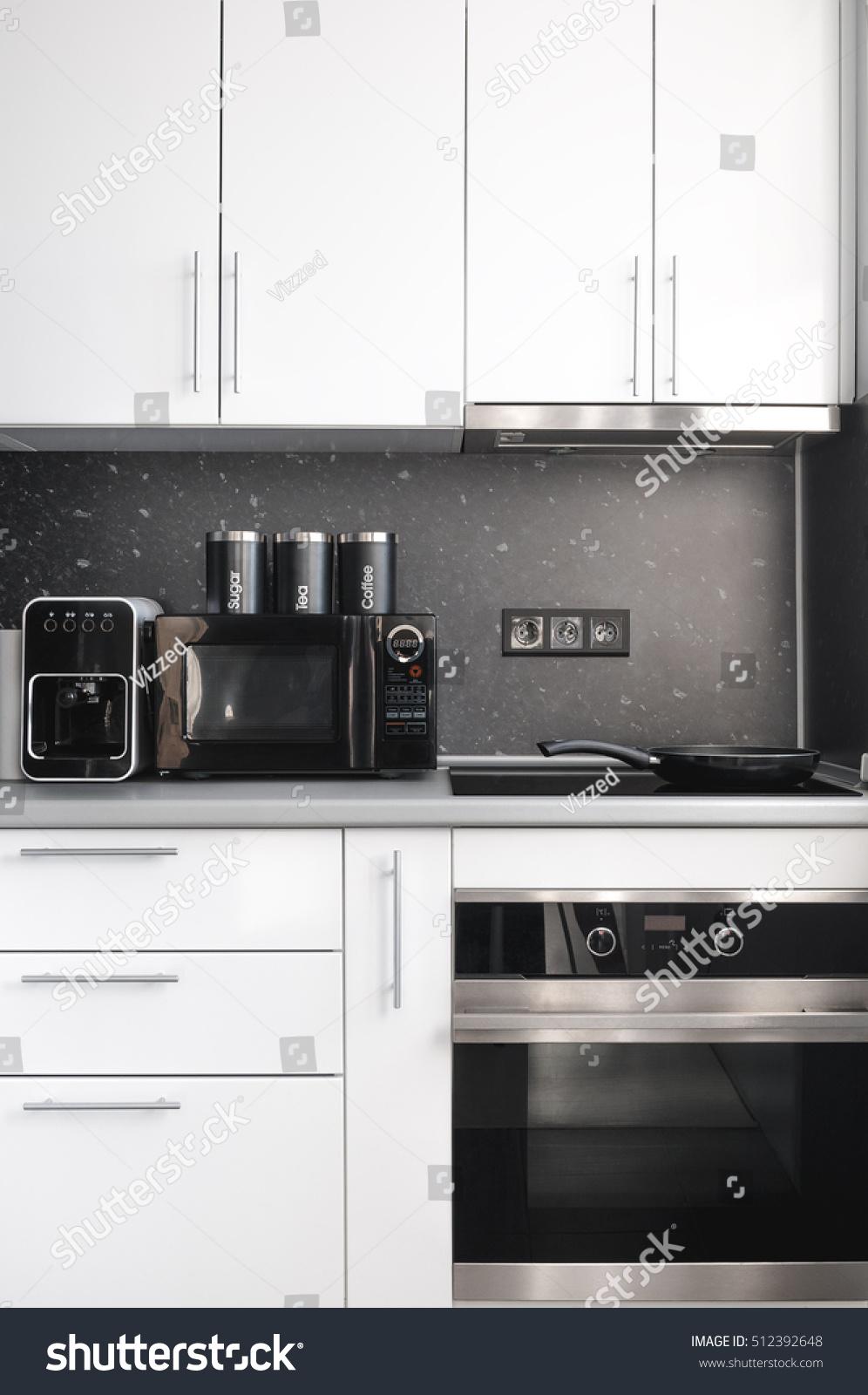 Black and white modern minimal kitchen design