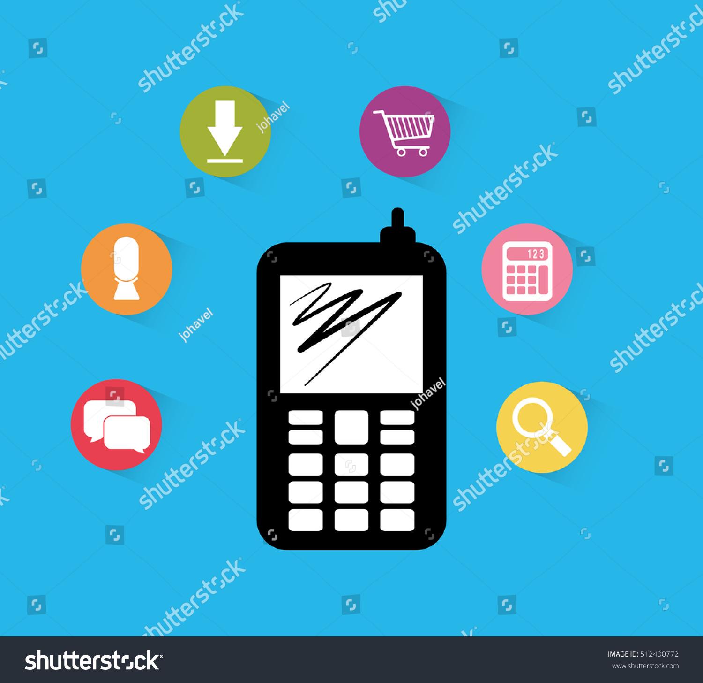 Mobile App Technology Icon Vector Illustration Stock