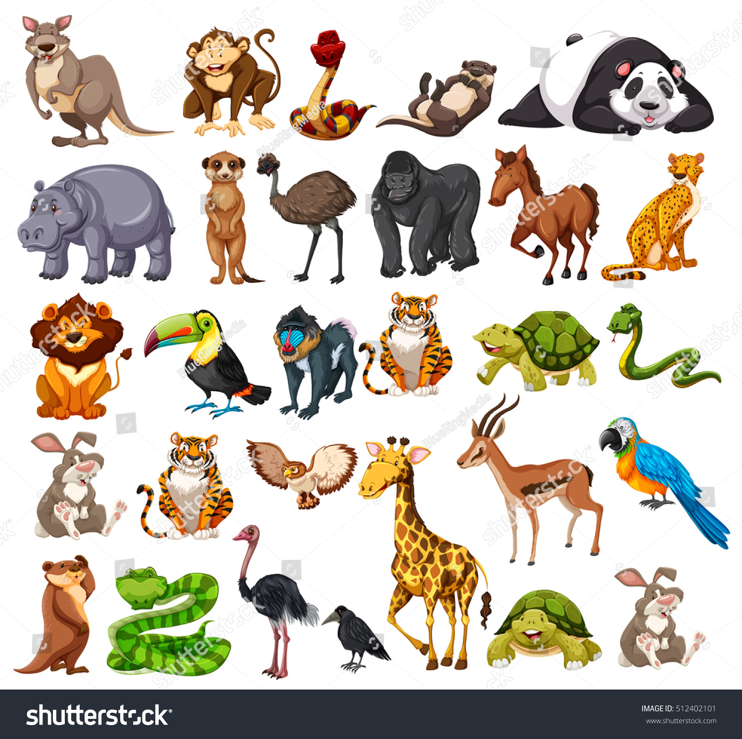 Different Types Wild Animals On White Stock Vector (Royalty Free) 512402101