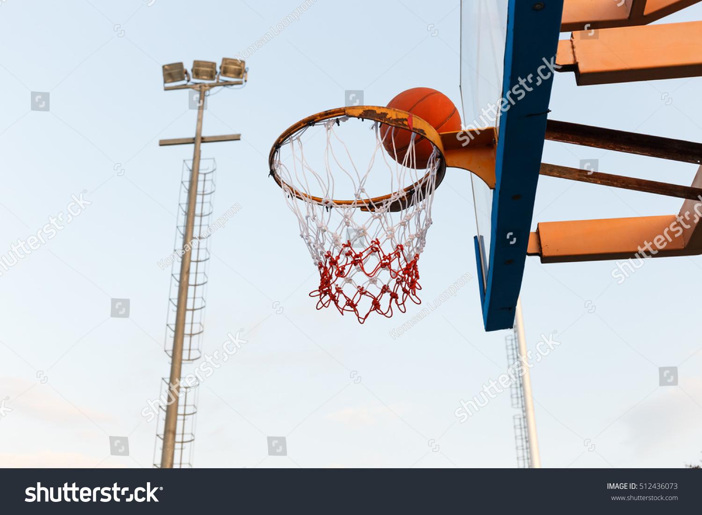 Basketball Outdoor Basketball Court Net Hoop Stock Photo