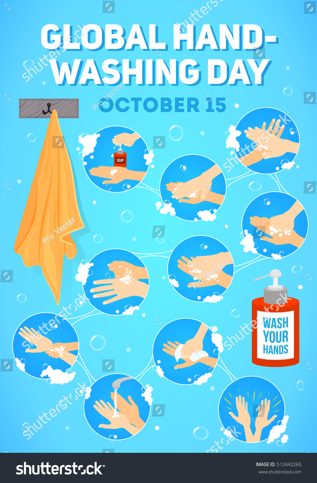 Global Hand Gestures And Their Meanings: Vector Poster Global Handwashing Day Vector Stock Vector