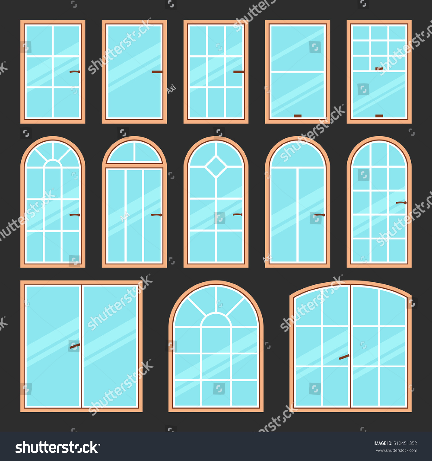 Vector icons set different types windows stock vector for Types of window shapes