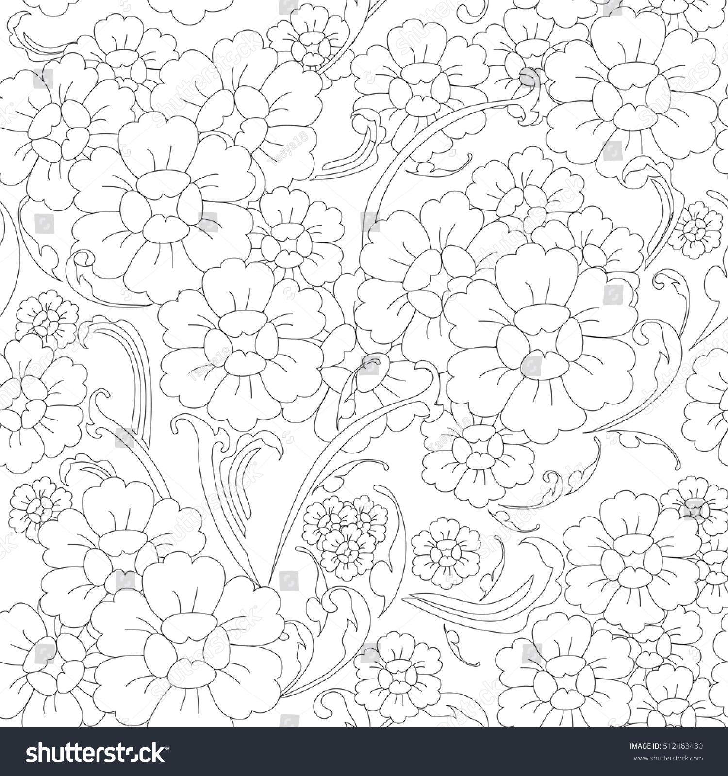 Line Art Flower Background : Vector seamless abstract flower line art stock