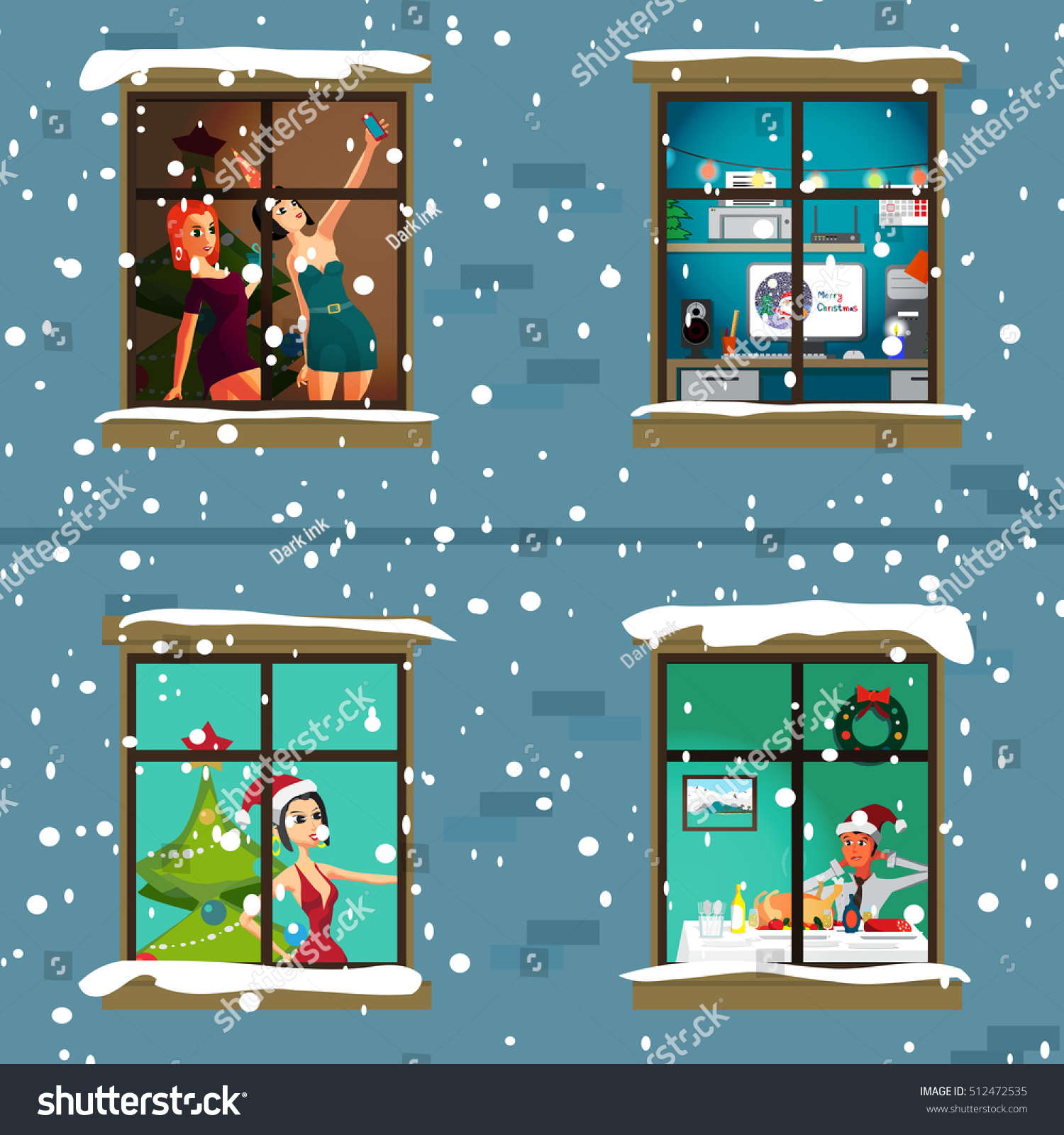 The Apartment People: Windows Apartment House Evening Christmas New Stock Vector