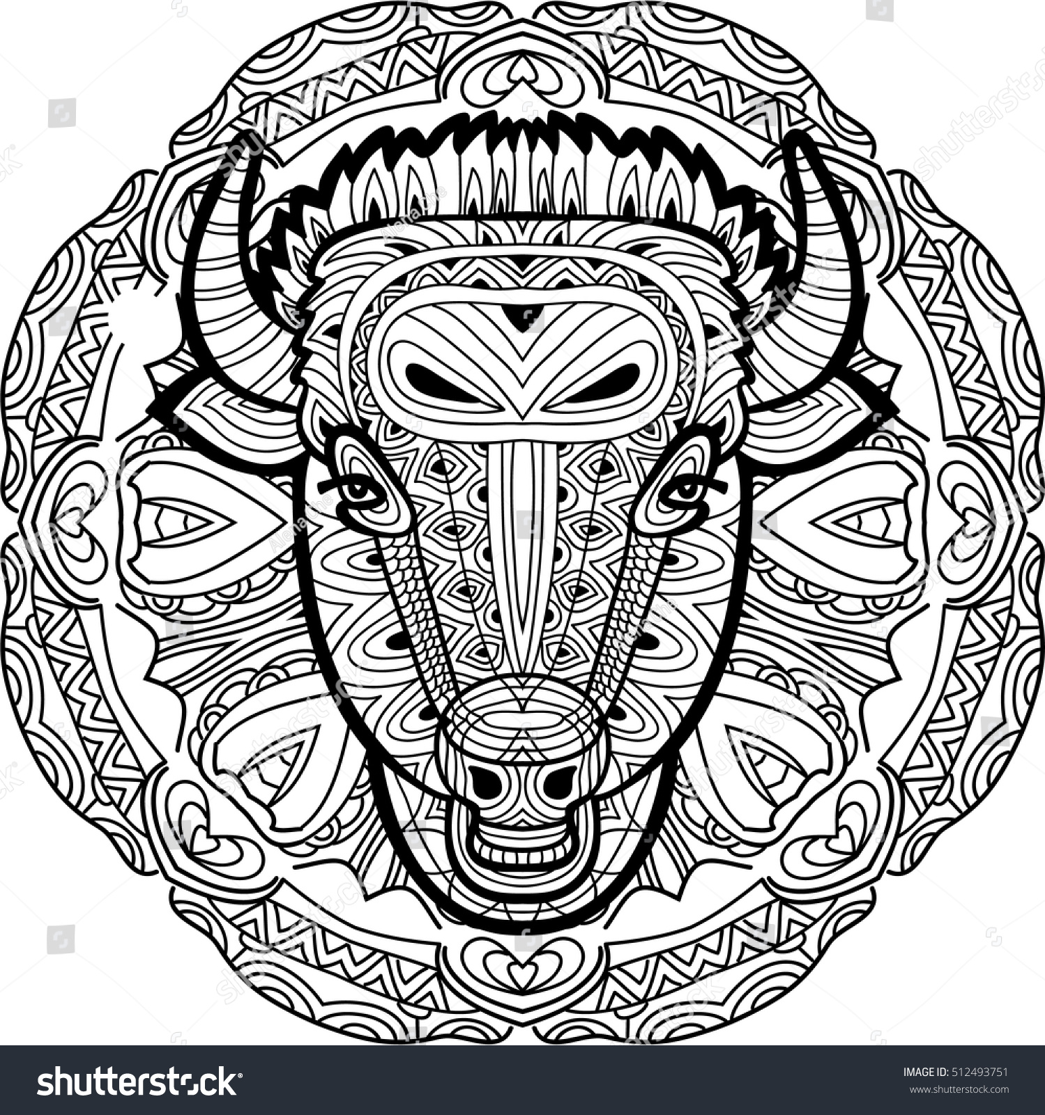 Monochrome Hand Drawn Ink Drawing Painted Bull On A Background Of Circular Tribal Pattern