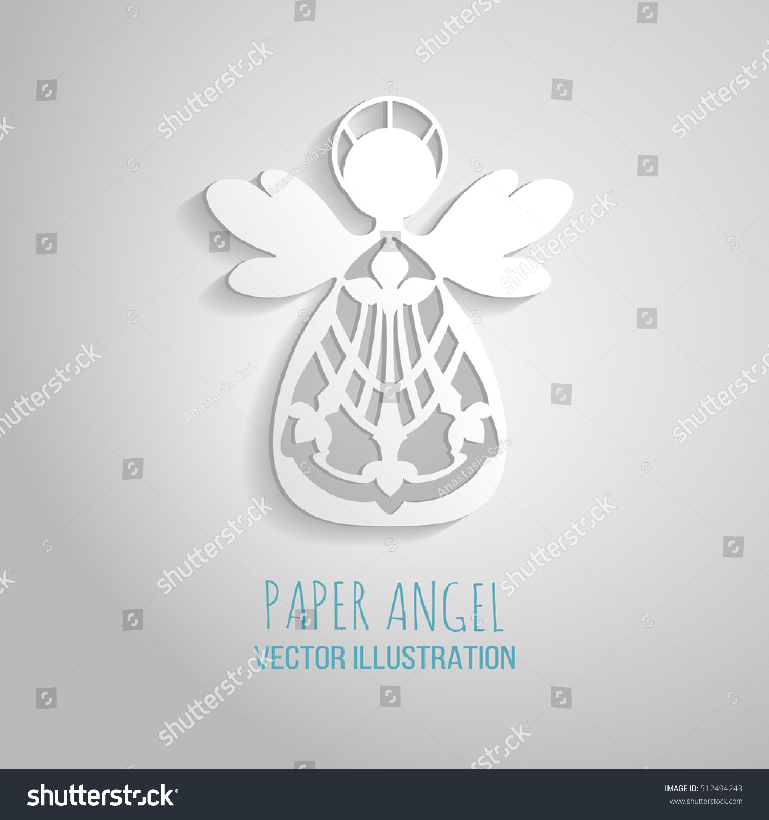Angel Icon Paper Angel On White Stock Vector (Royalty Free ...