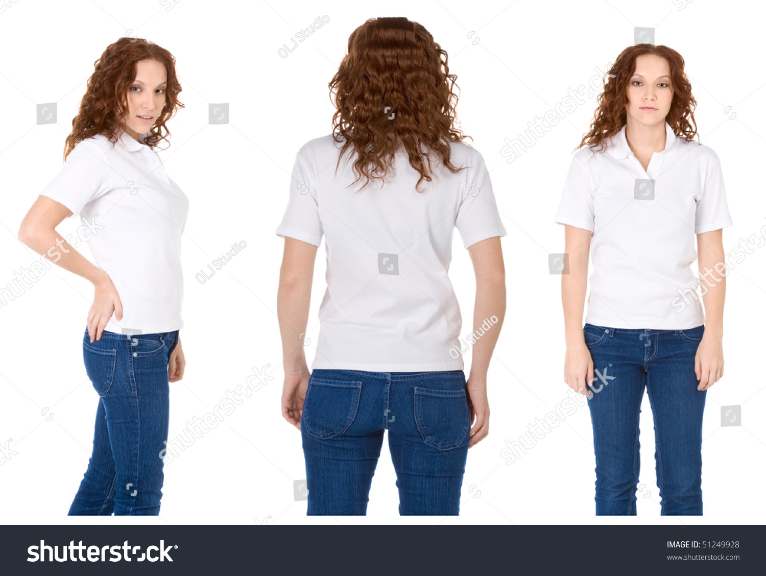 White t shirt blue jeans - Fashion Model In White T Shirt And Blue Jeans Multiple Angles