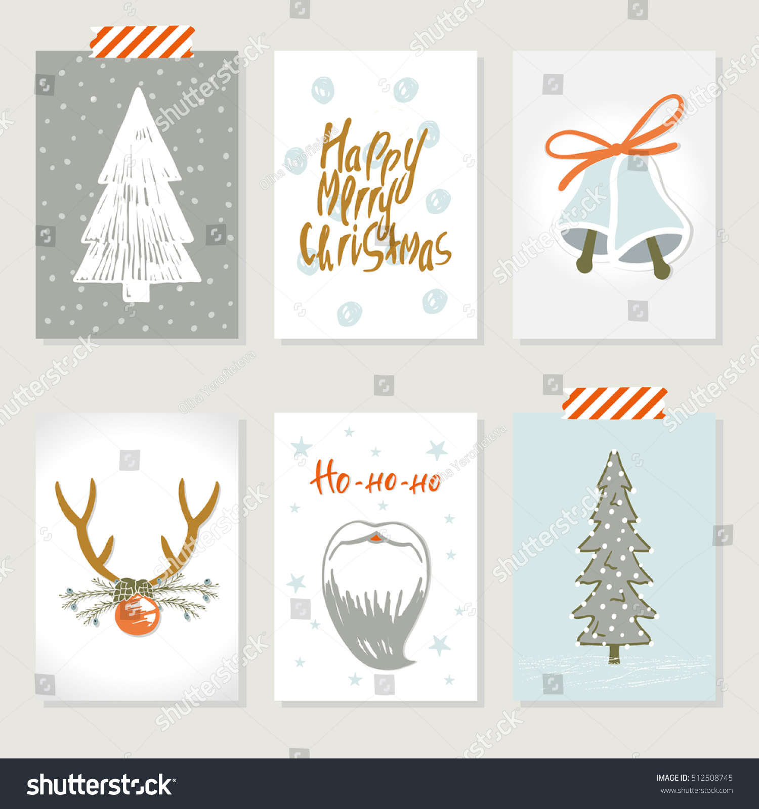 Collection 6 Christmas Card Templates Christmas Stock Vector ...