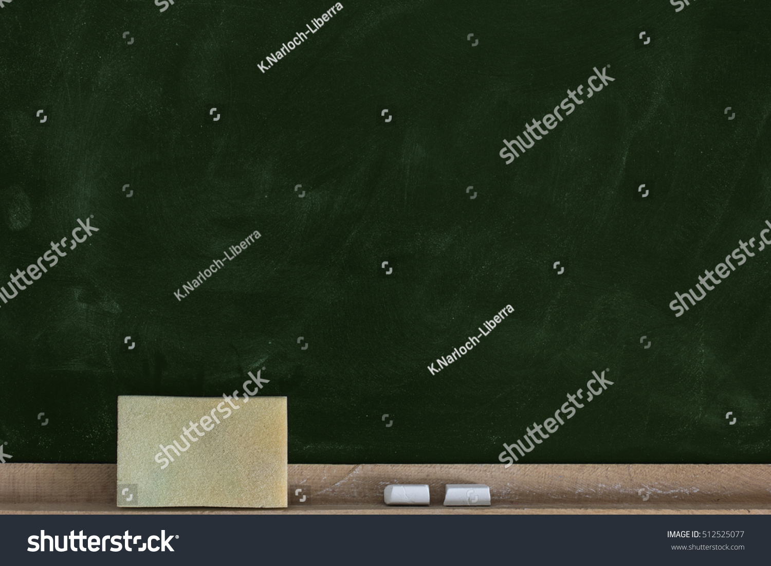 Empty Chalkboard Background With Chalk And Sponge