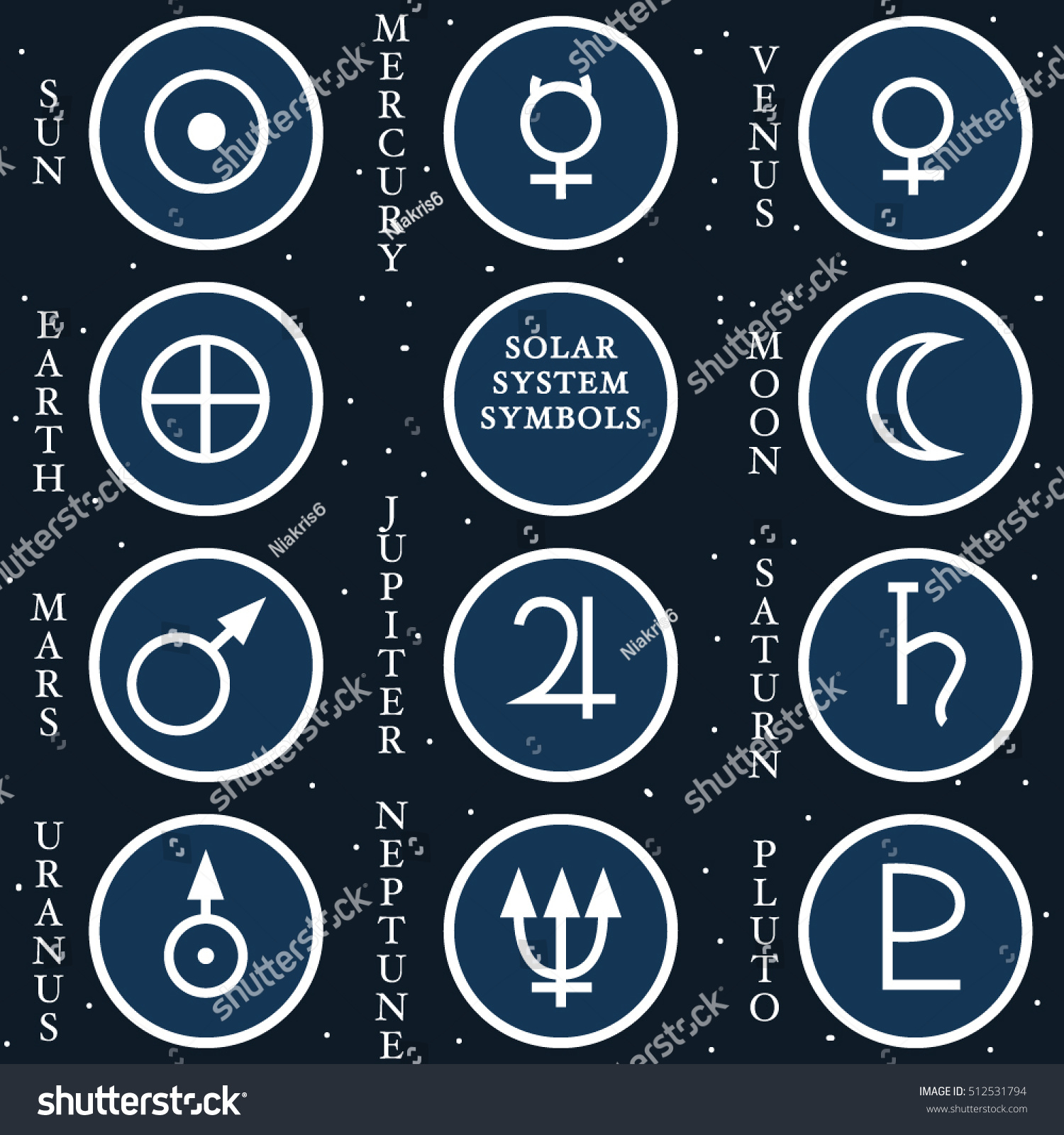 Vector illustration solar system symbols stock vector 512531794 vector illustration of the solar system symbols buycottarizona