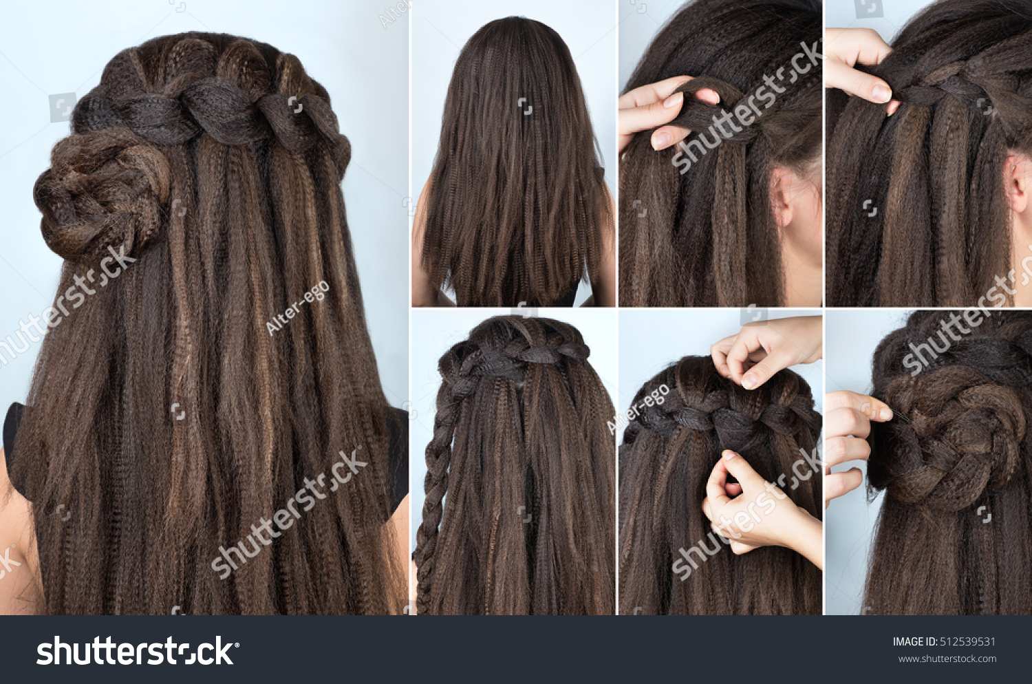 Hairstyle Braided Rose Tutorial Step By Stock Photo 512539531