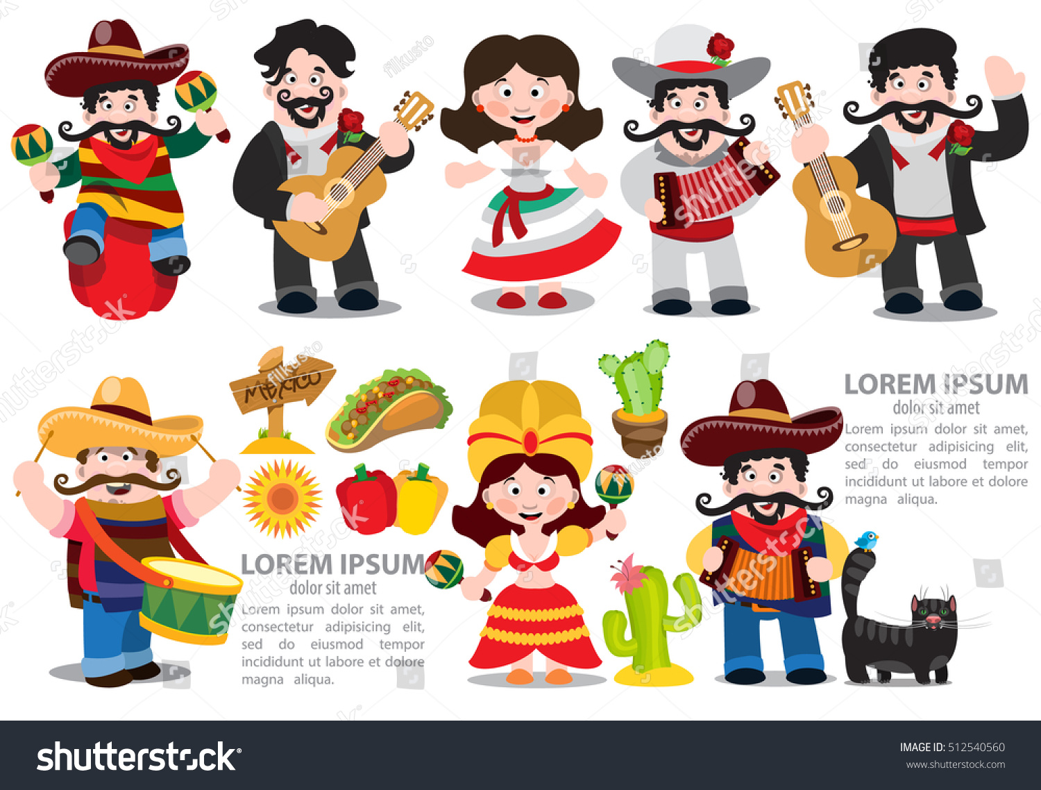 set characters cartoon style on mexican stock vector