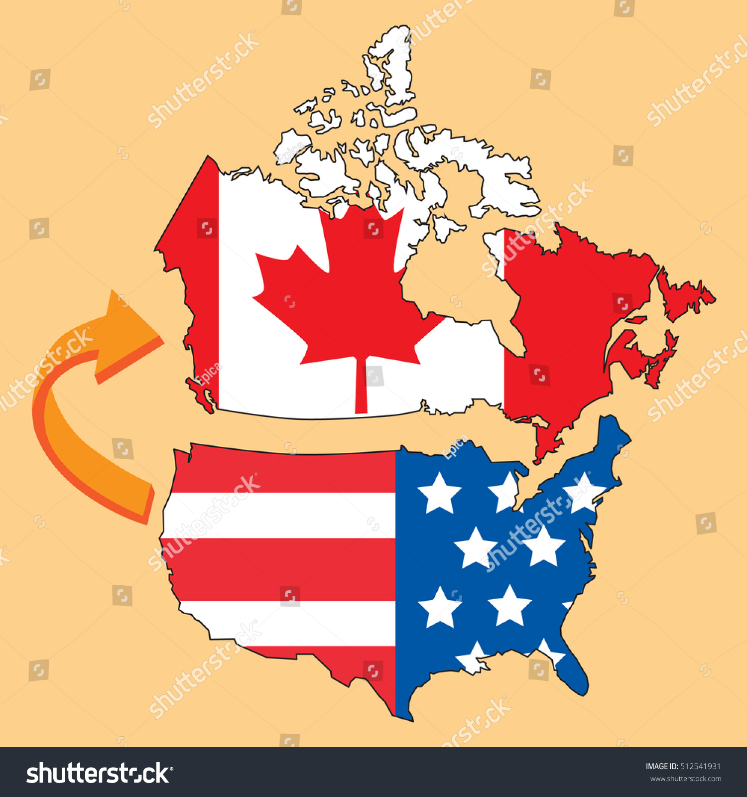 Emigrate Canada United States America Map Stock Vector - Map usa canada vector