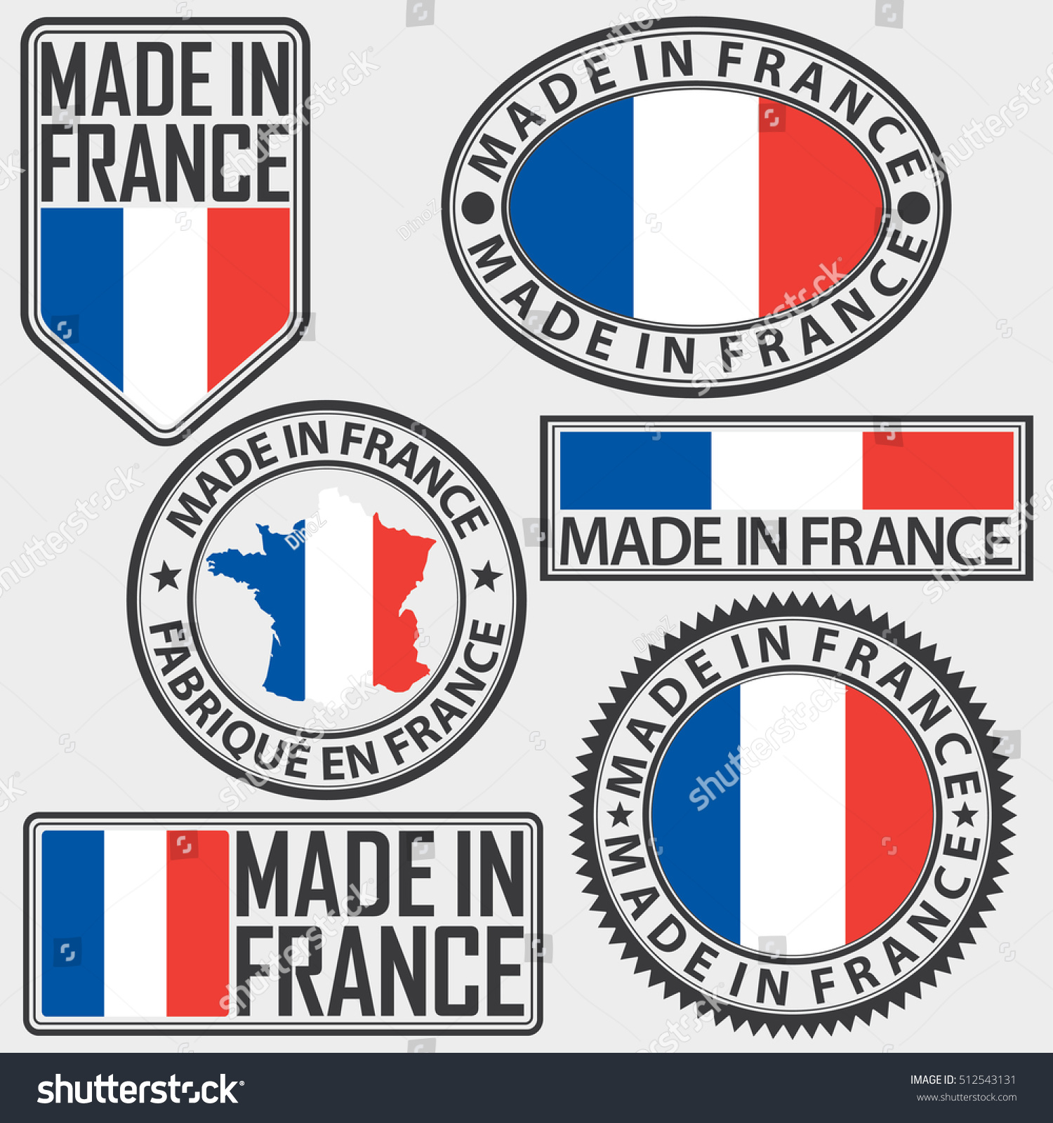 made france label set flag vector stock vector 512543131 shutterstock. Black Bedroom Furniture Sets. Home Design Ideas