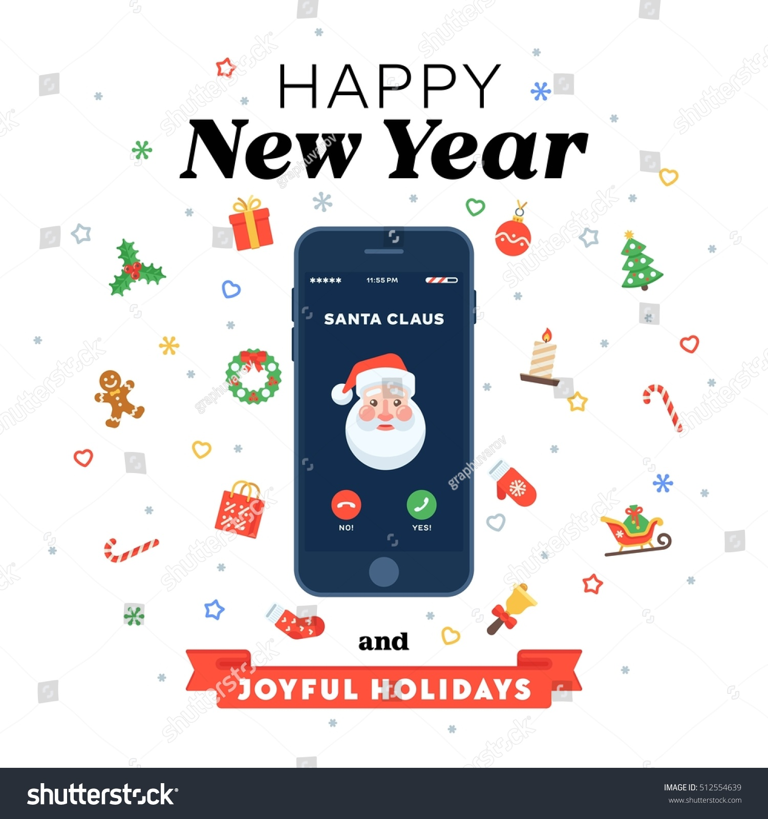 Christmas card phone call santa flat stock vector hd royalty free christmas card with phone call from santa in flat style smartphone with incoming call screen m4hsunfo