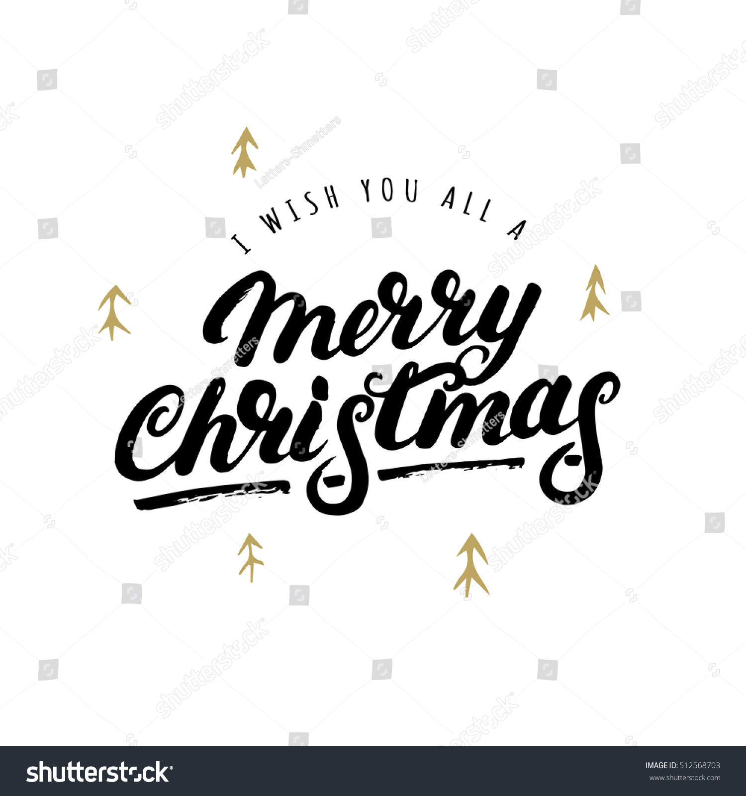 I wish you all a Merry Christmas hand written lettering with hand drawn elements Modern brush calligraphy for greeting card poster photo overlay Isolated on white background Vector illustration