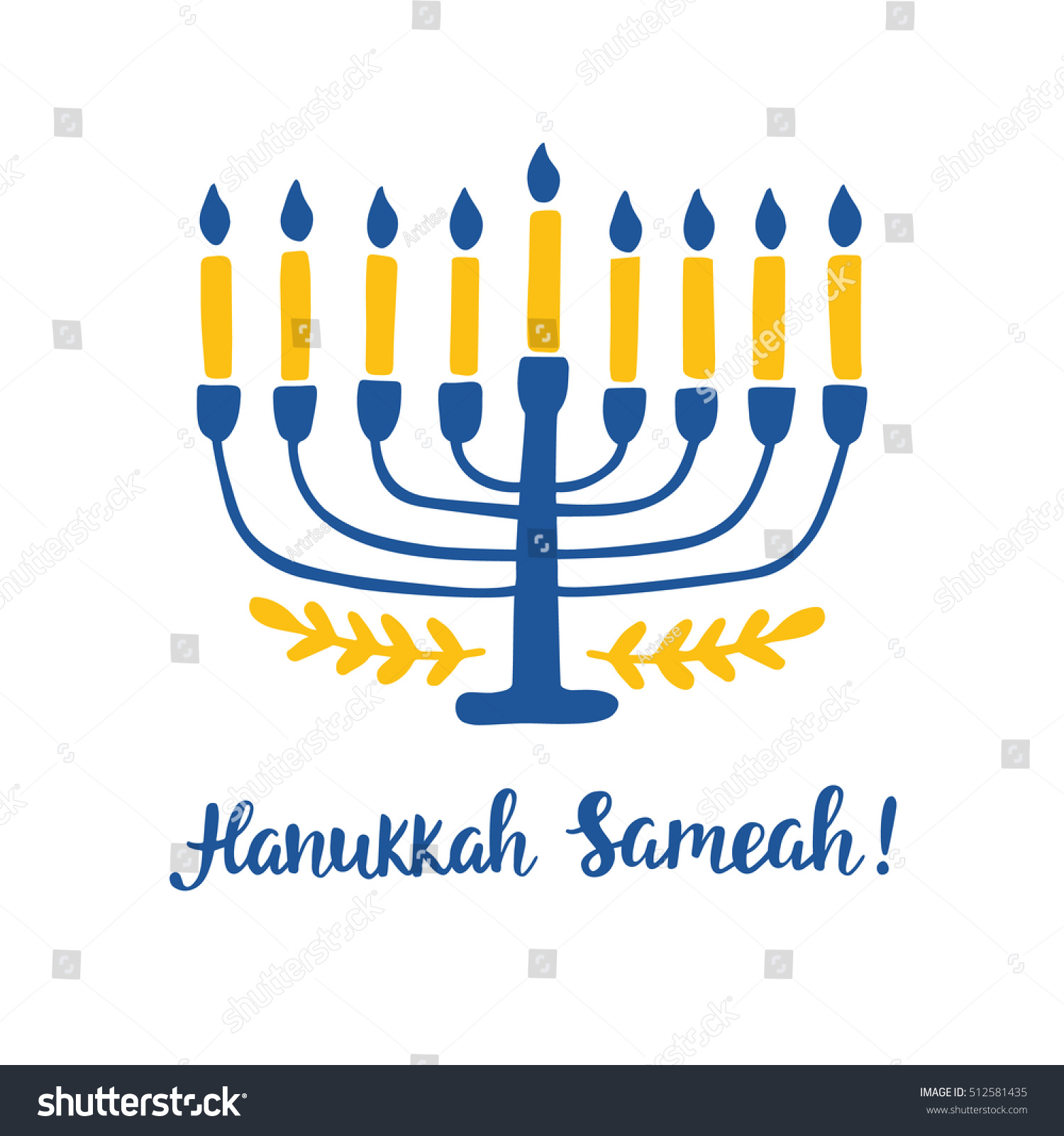 Happy Hanukkah Hand Written Brush Lettering Stock Vector Royalty