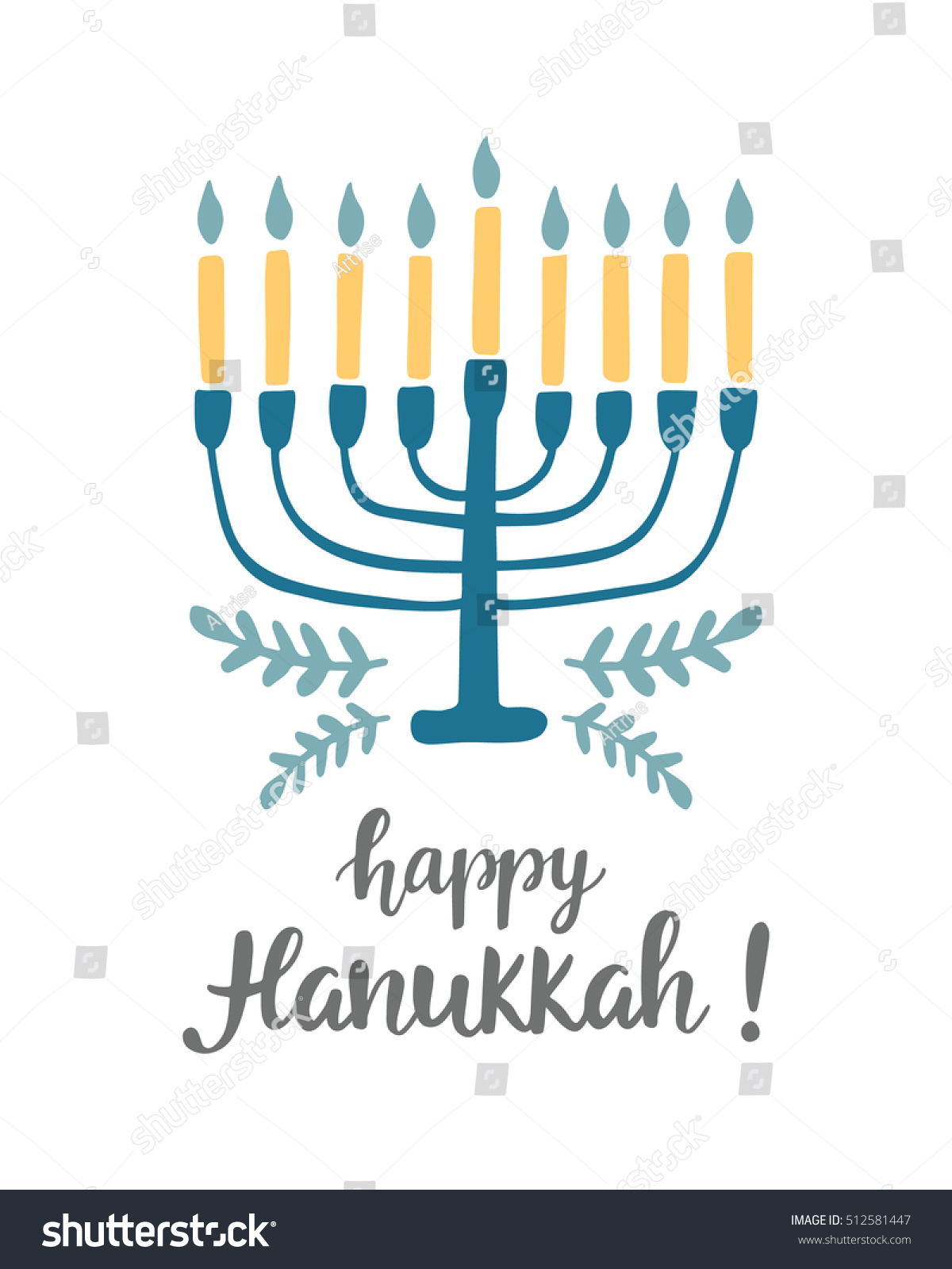 Happy Hanukkah Greeting Card Hand Written Stock Vector (Royalty Free ...