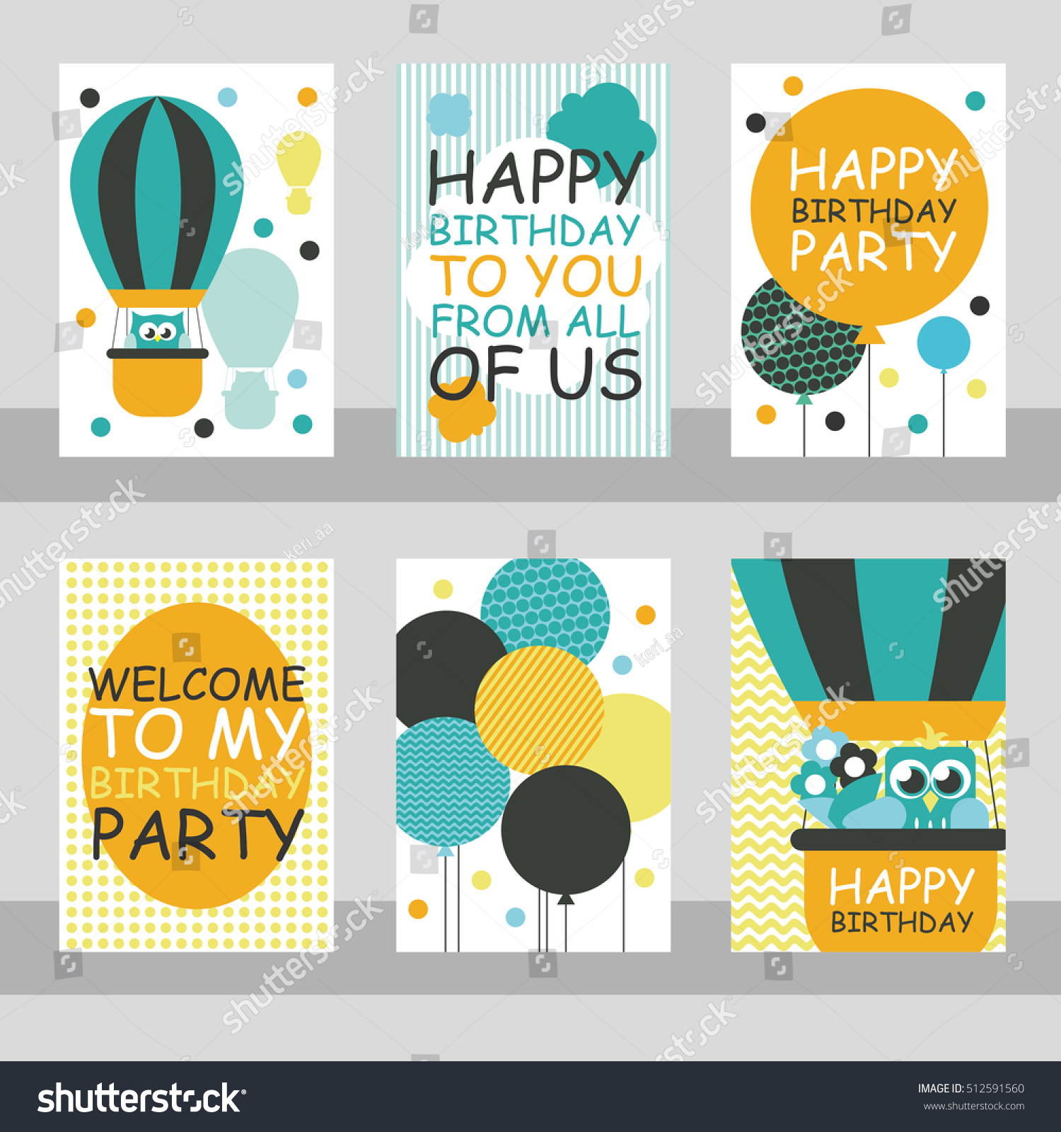 6 Birthday Card Templates: Set 6 Cute Creative Cards Templates Stock Vector 512591560