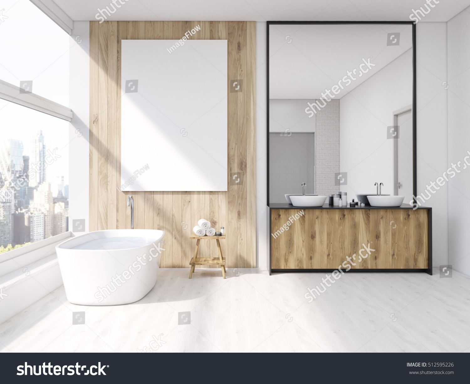 iterior of bathroom with mirror bath tub table with towels and sink
