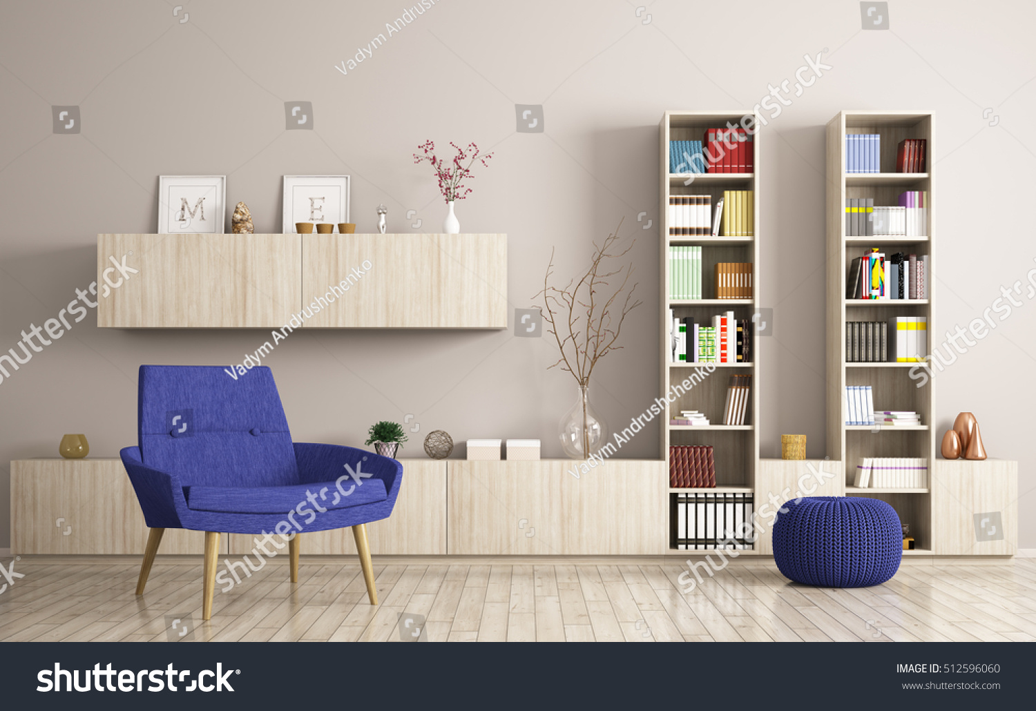 Modern living room interior with armchair and