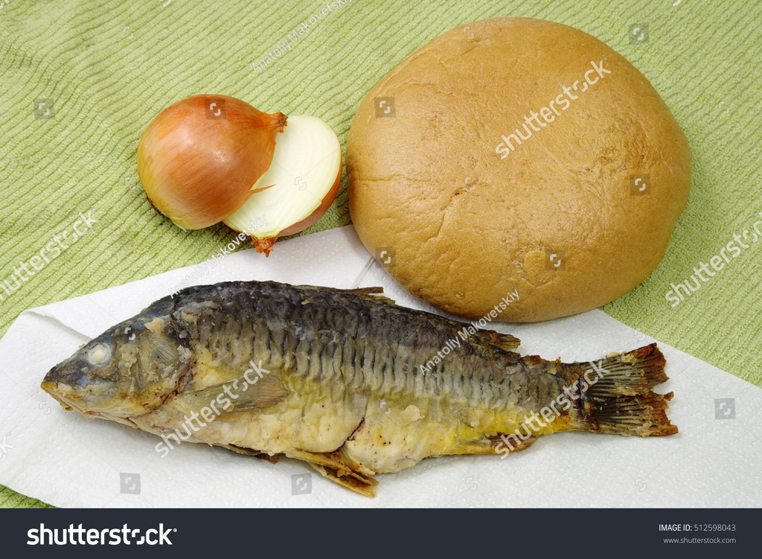 Bread fish onions on canvas stock photo 512598043 for How to bread fish